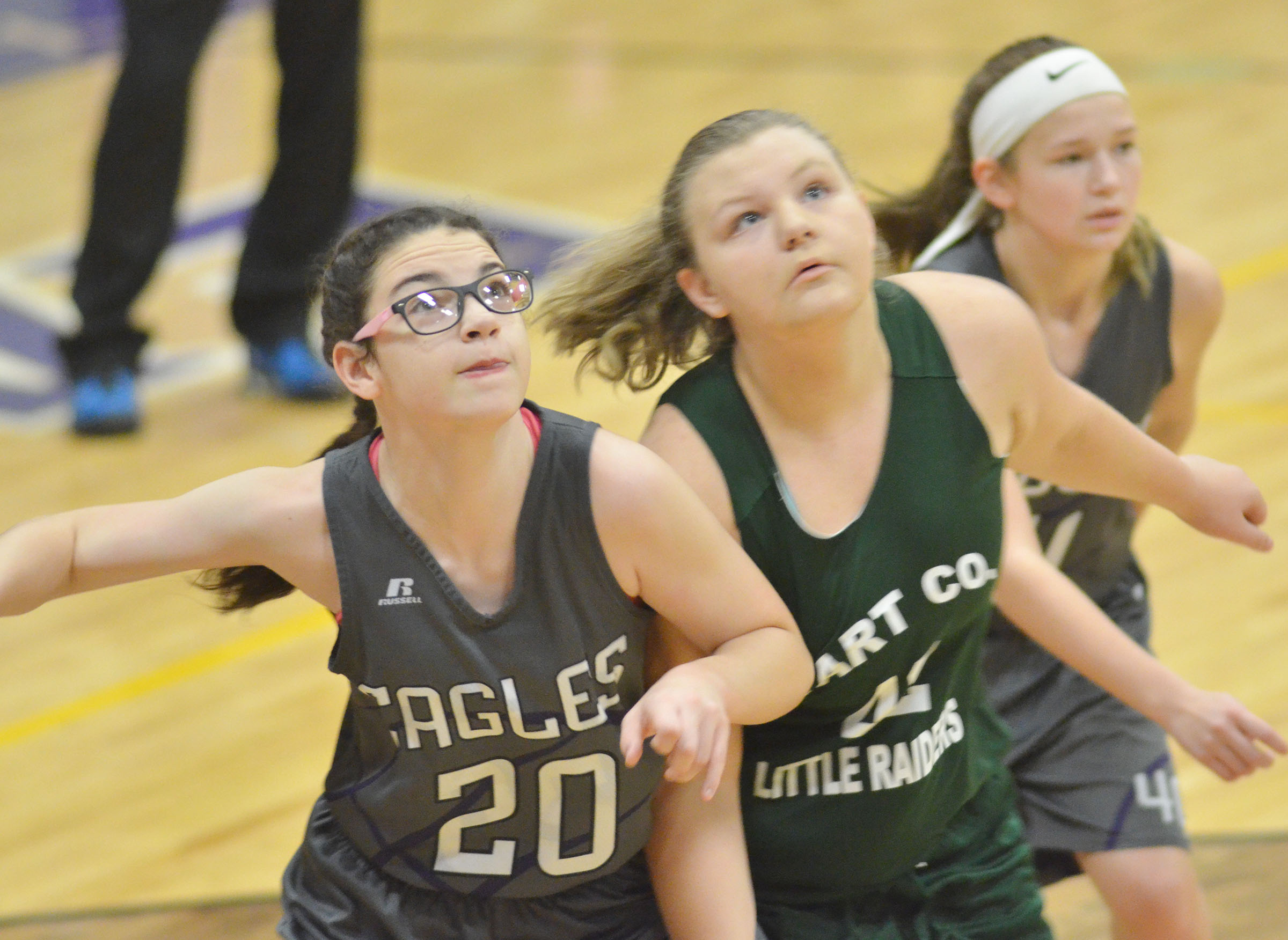CMS sixth-grader Mary Russell looks for a rebound.