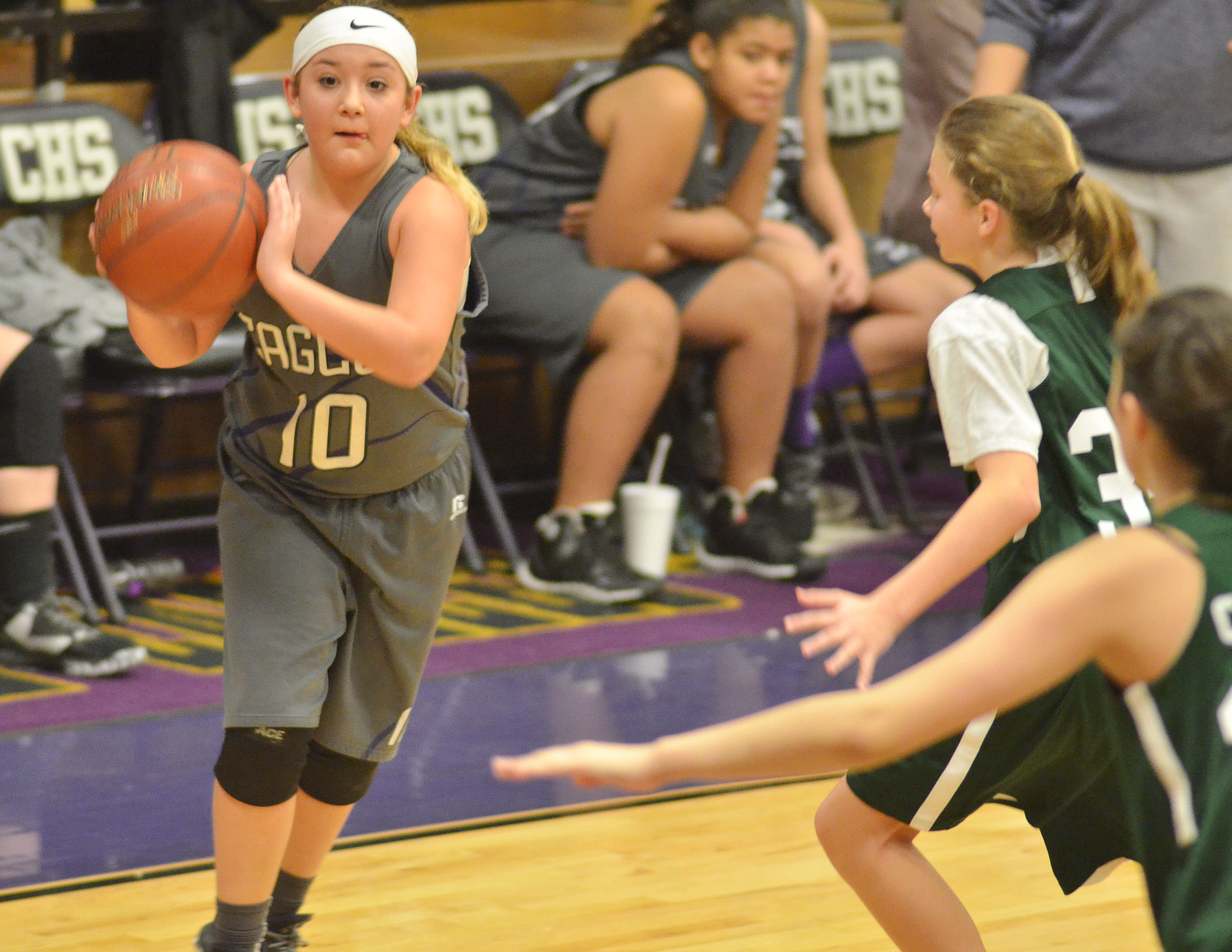 CMS sixth-grader Briana Davis looks to pass.