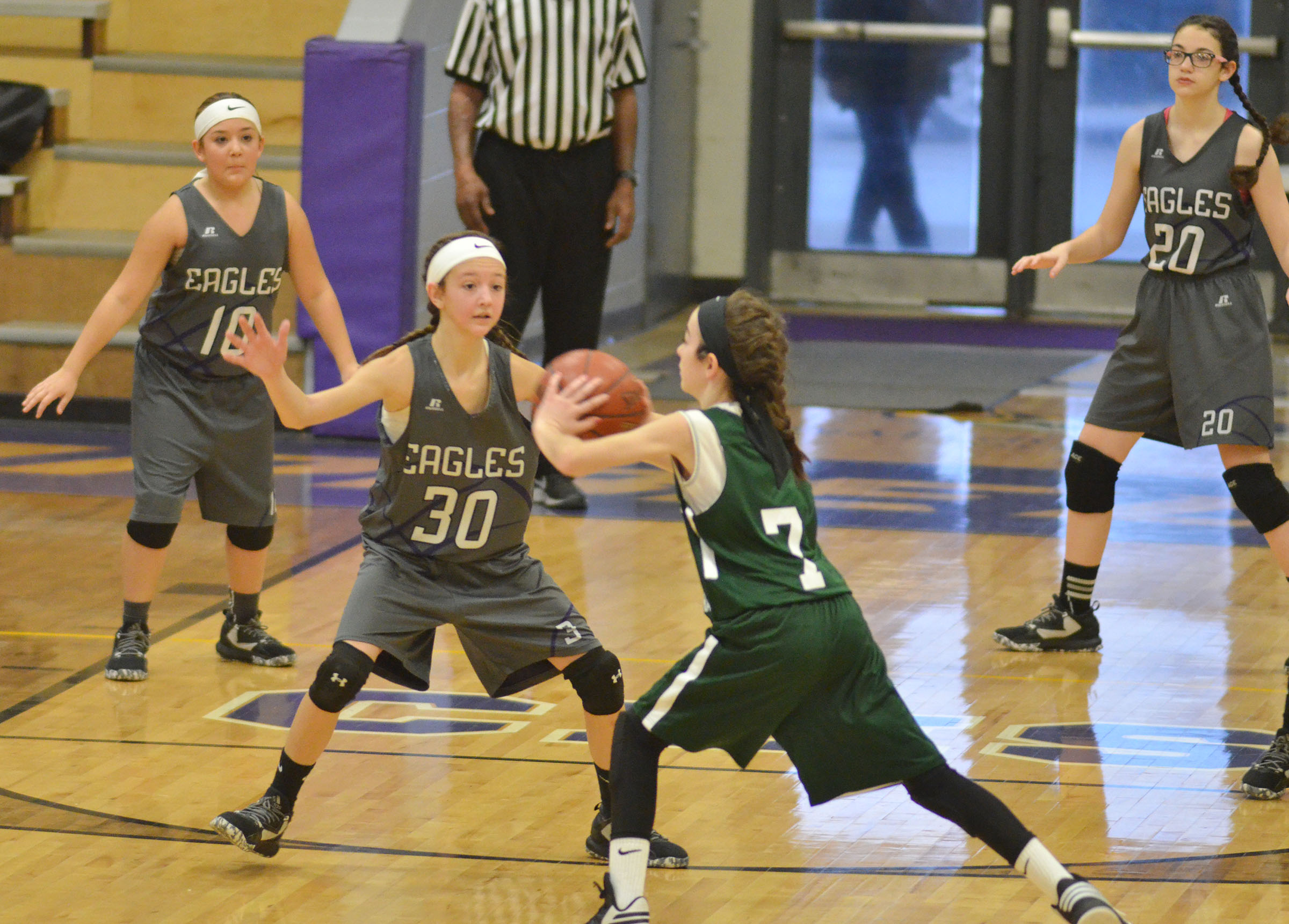 CMS sixth-grader Bri Hayes plays defense.