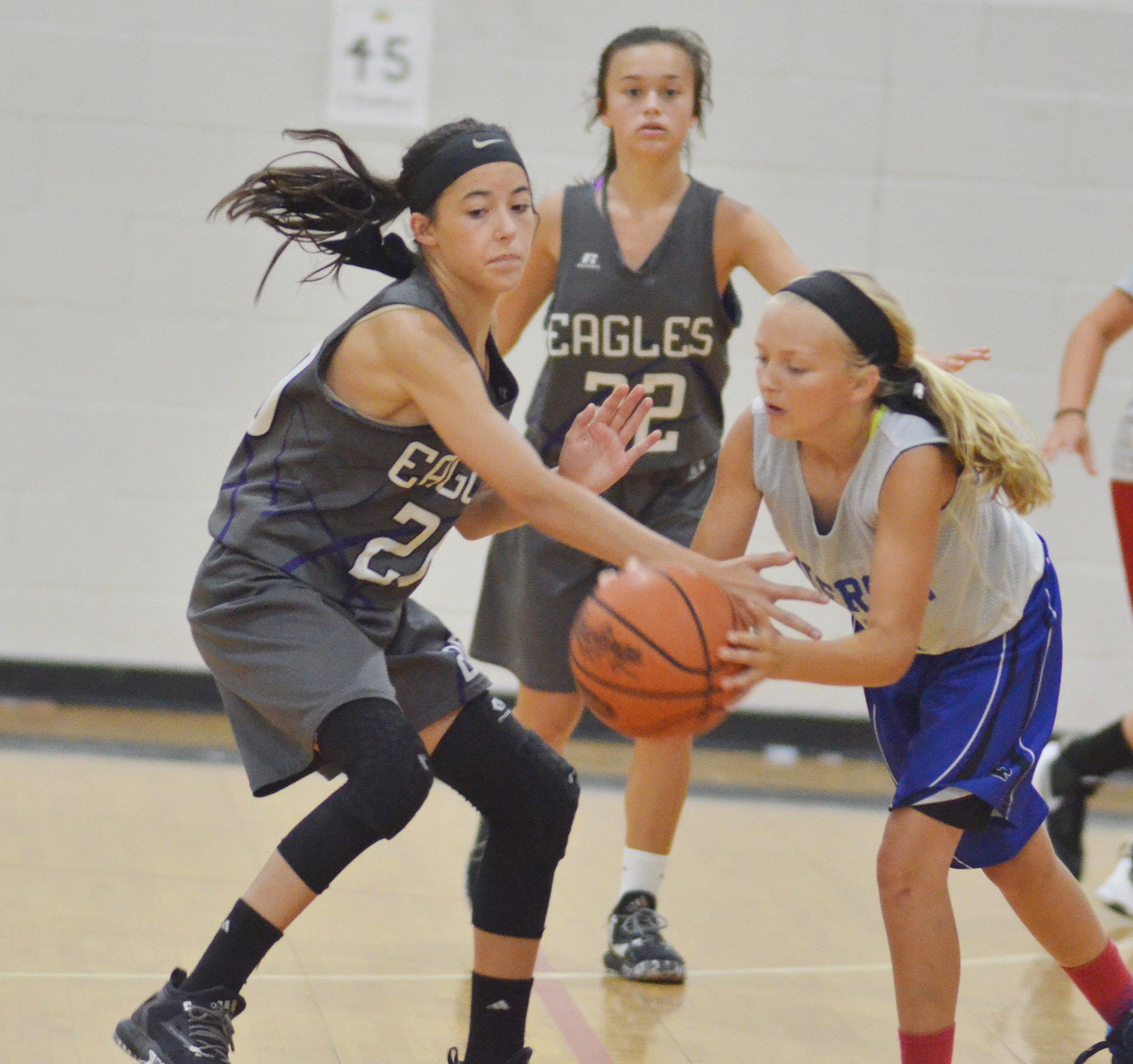 CMS eighth-grader Kaylyn Smith steals the ball.