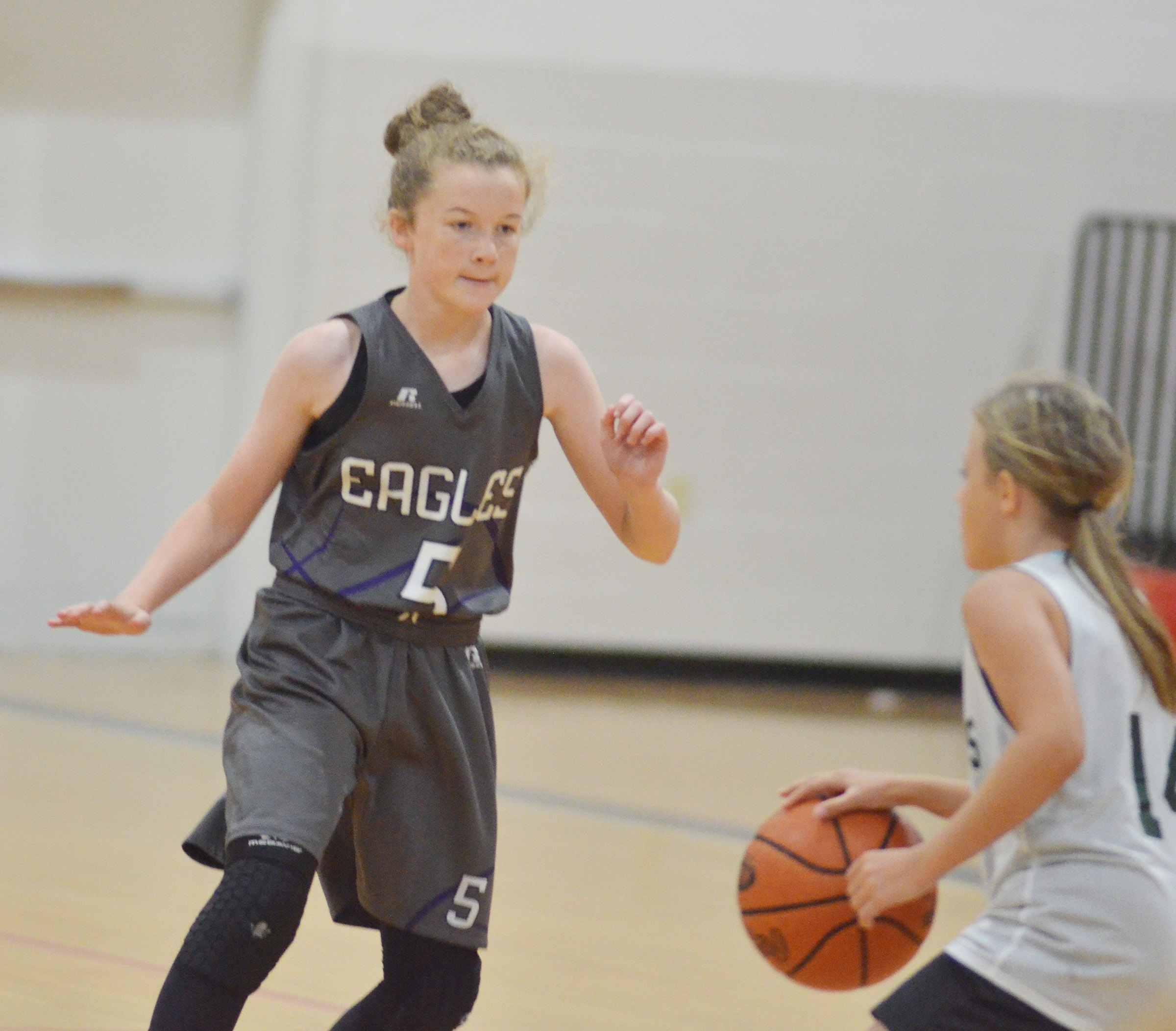 CMS seventh-grader Dakota Slone plays defense.