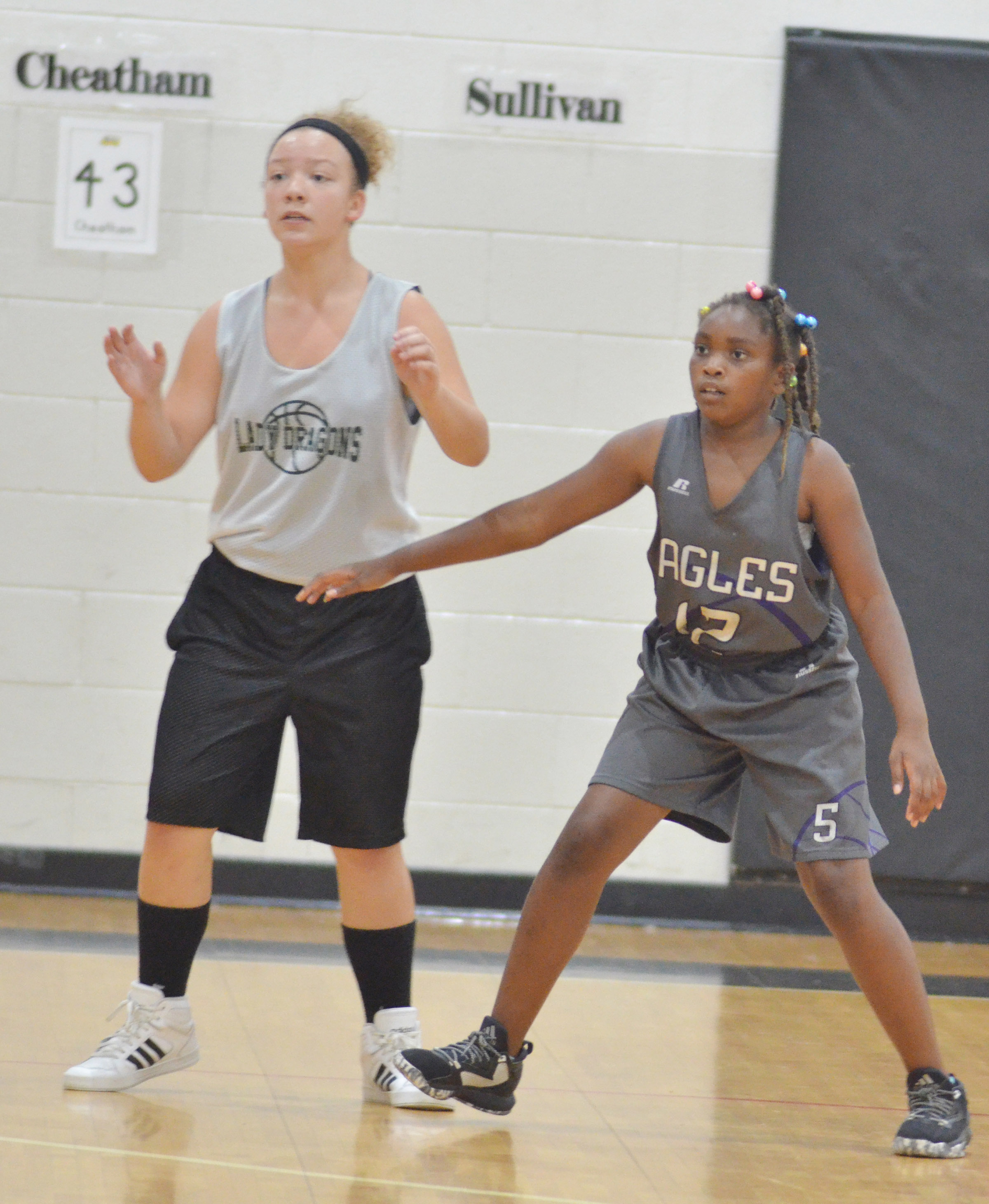 CMS fifth-grader Ta'Zaria Owens plays defense.