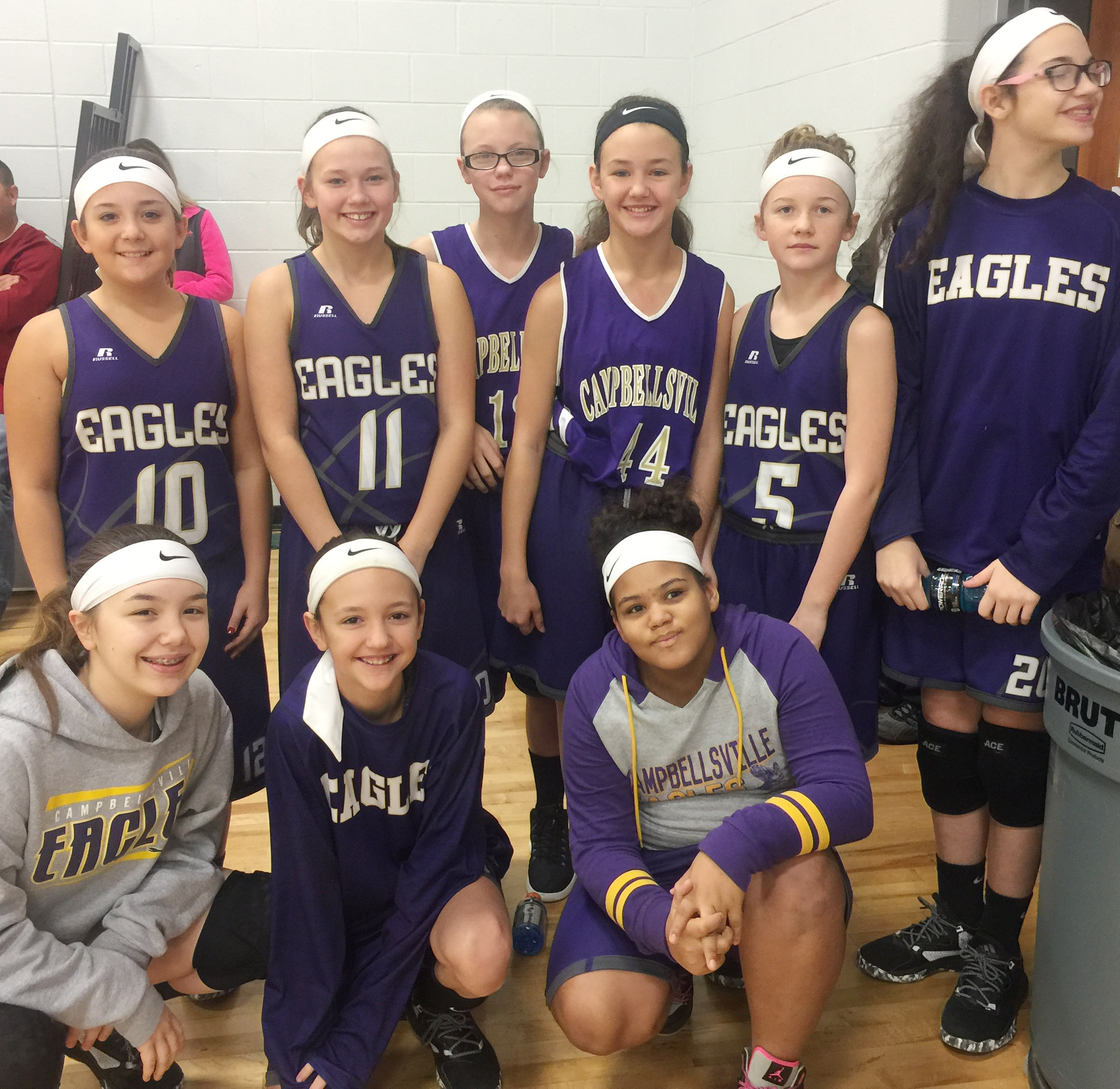CMS sixth-grade girls' winter basketball team members are, from left, front, seventh-grader Olivia Fields and sixth-graders Brianna Hayes and Asia Barbour. Back, sixth-graders Briana Davis, Breanna Humphress, Jade Wheeler, Haylee Allen, Dakota Slone and Mary Russell.