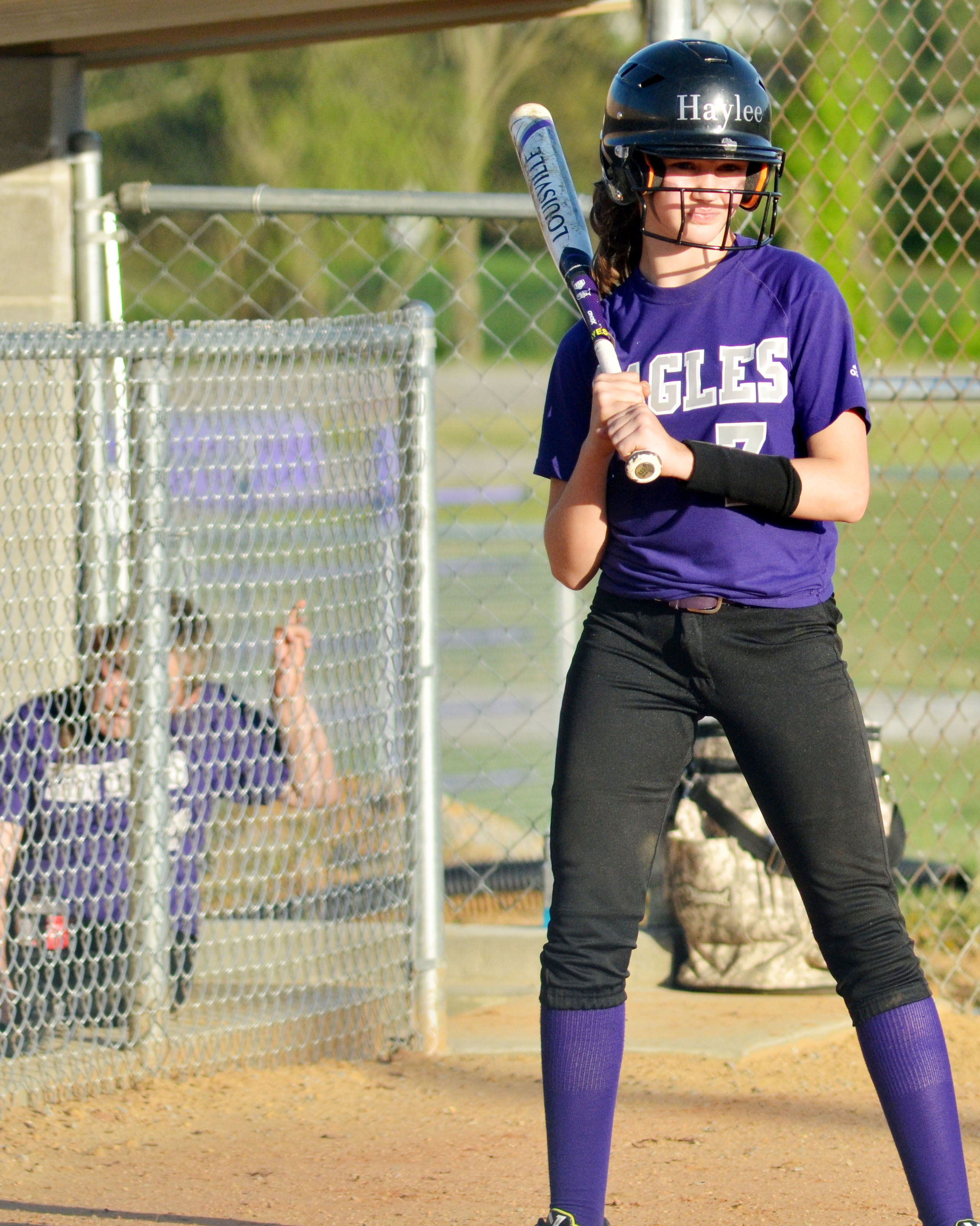 CMS sixth-grader Haylee Allen waits to bat.