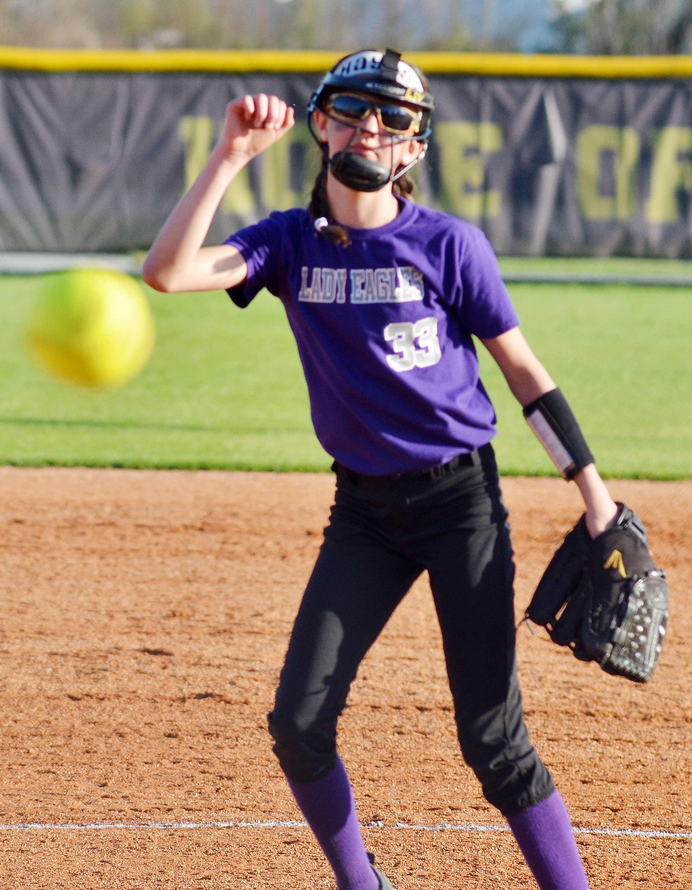 CMS sixth-grader Bri Hayes pitches.