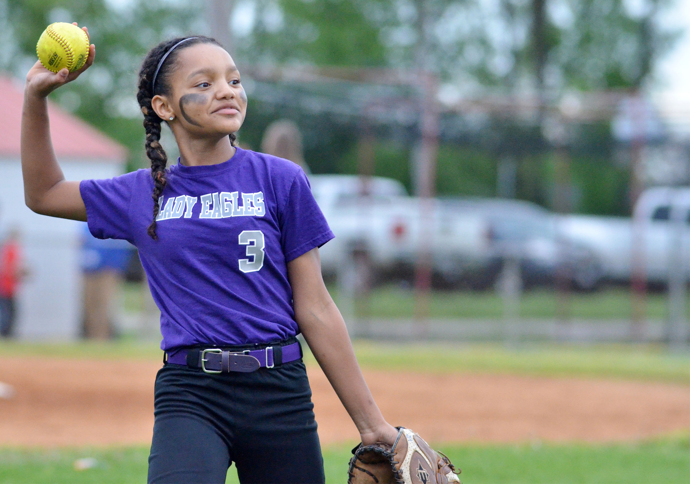 CMS seventh-grader Alexis Thomas throws.