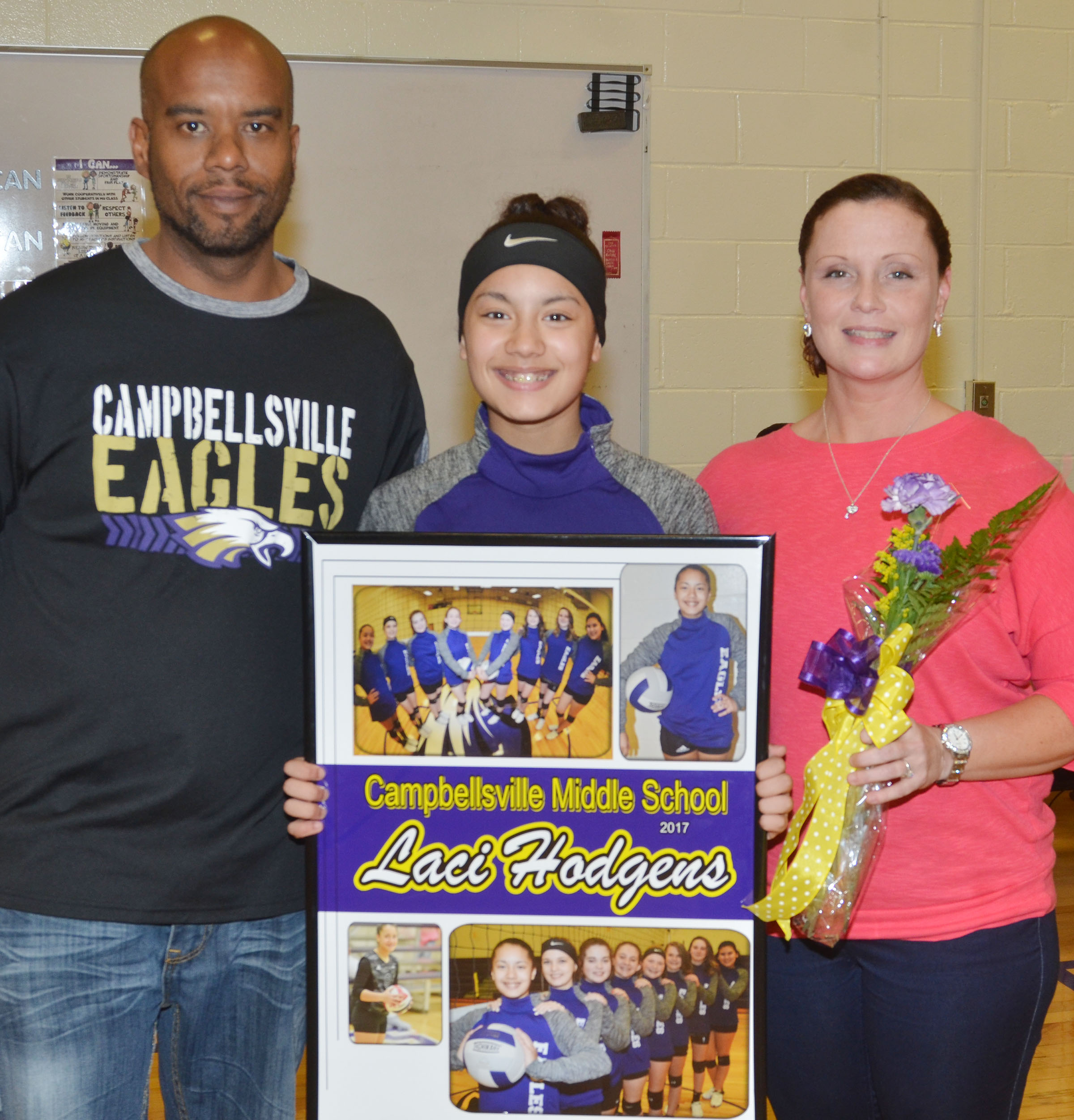 CMS eighth-grader Laci Hodgens is honored.