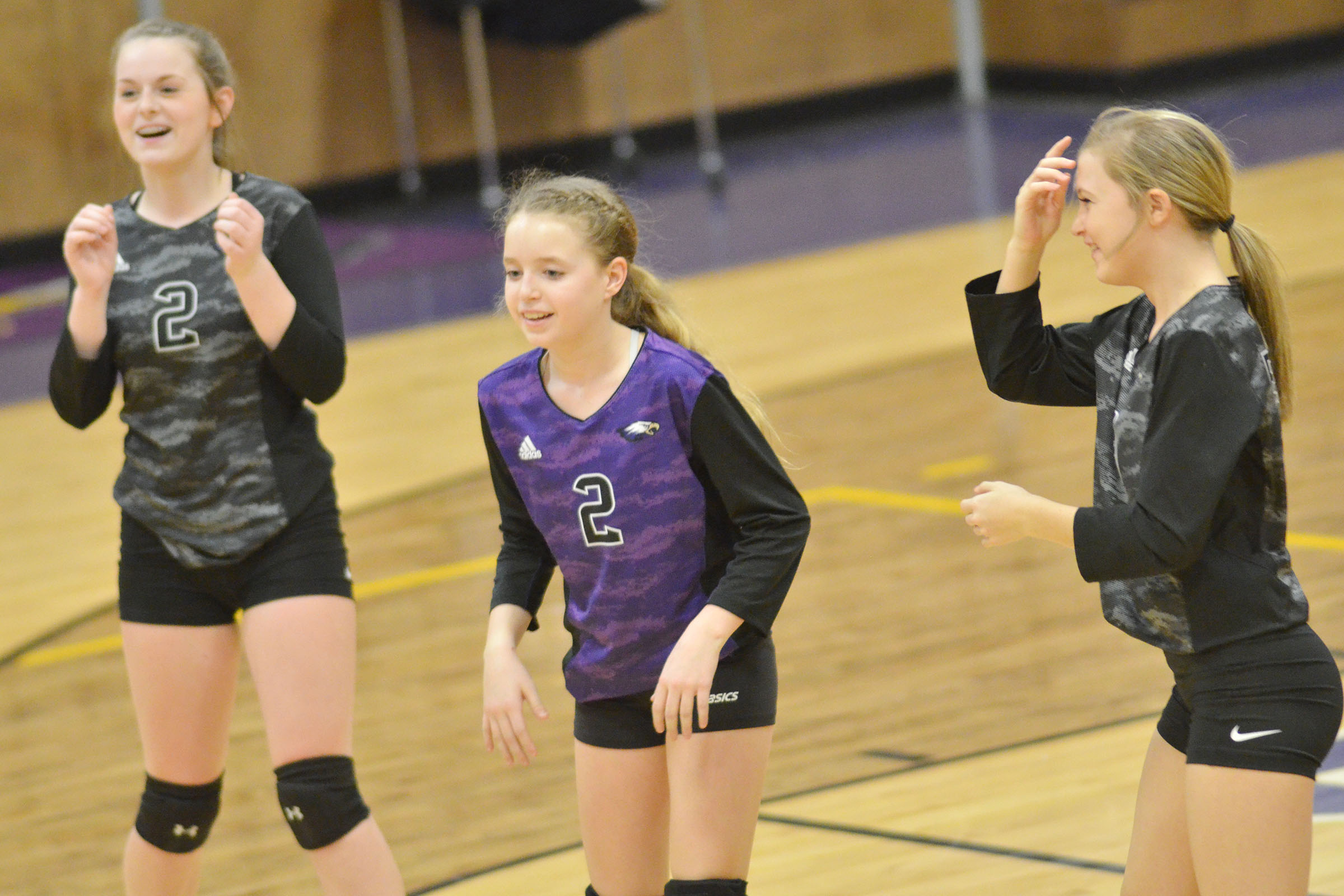 From left, CMS eighth-grader Taylor Knight, seventh-grader Rylee Petett and eighth-grader Carly Adams cheer after a point.