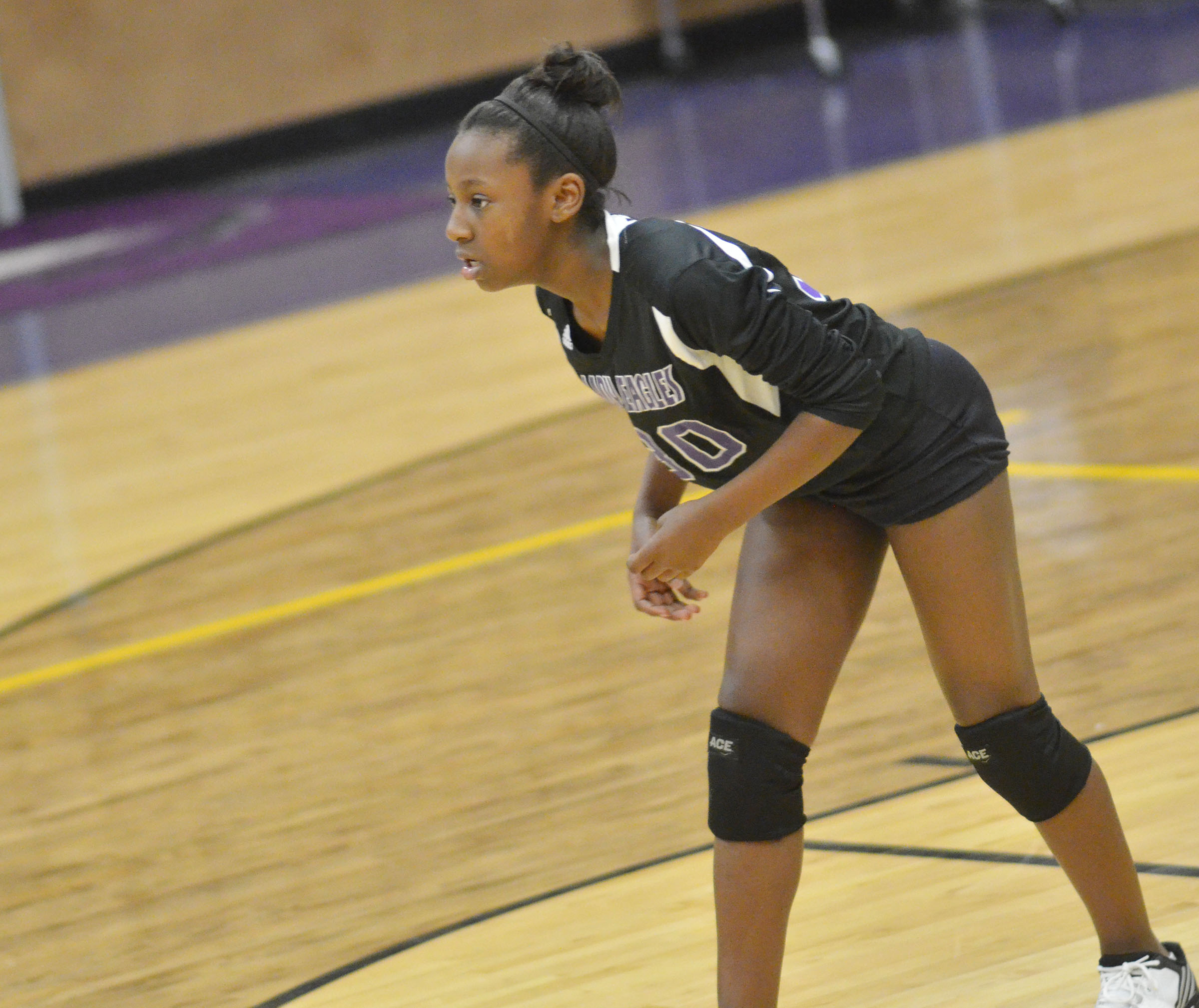 CMS seventh-grader Myricle Gholston watches the ball.