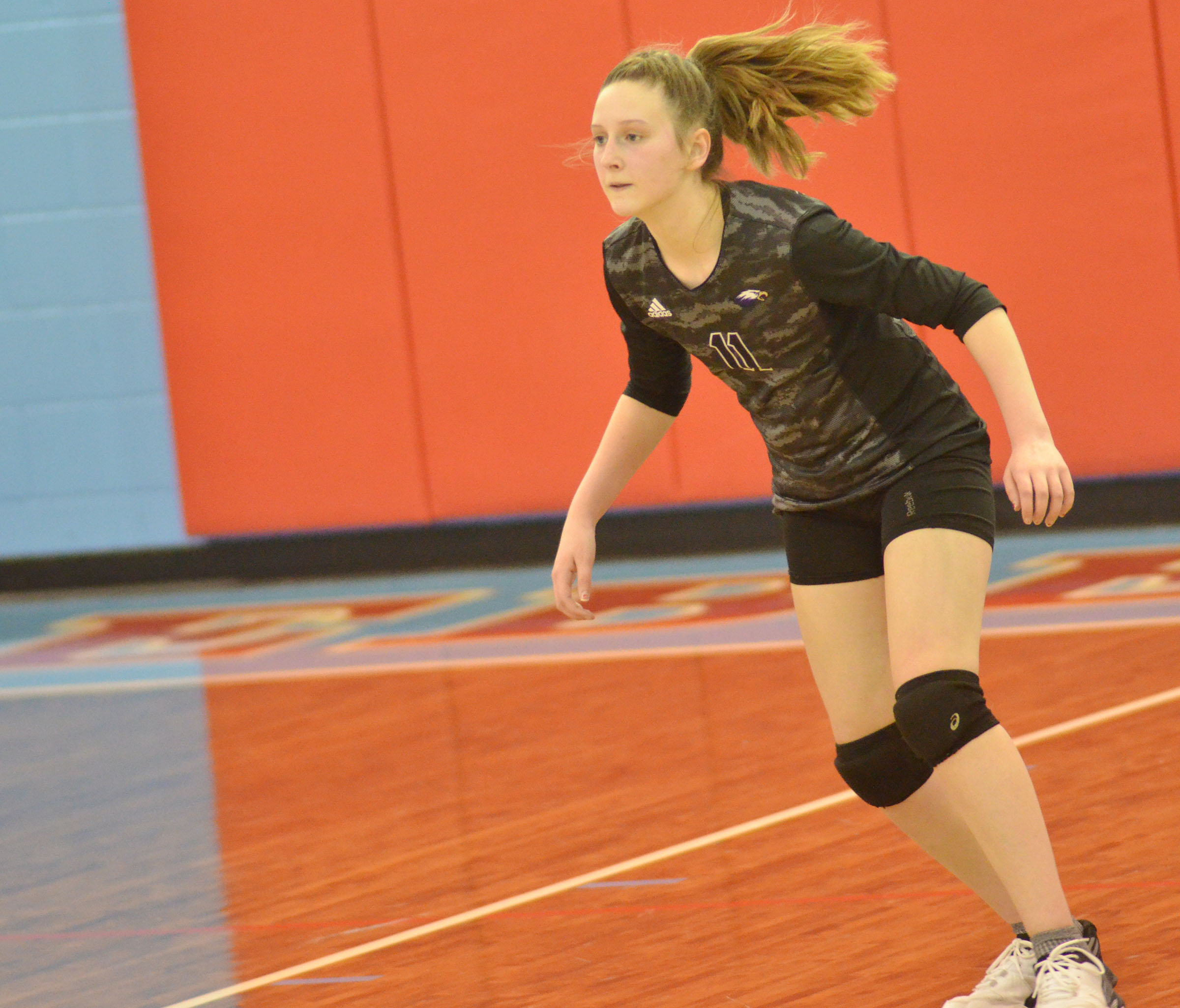 CMS eighth-grader Zoie Sidebottom watches the ball.