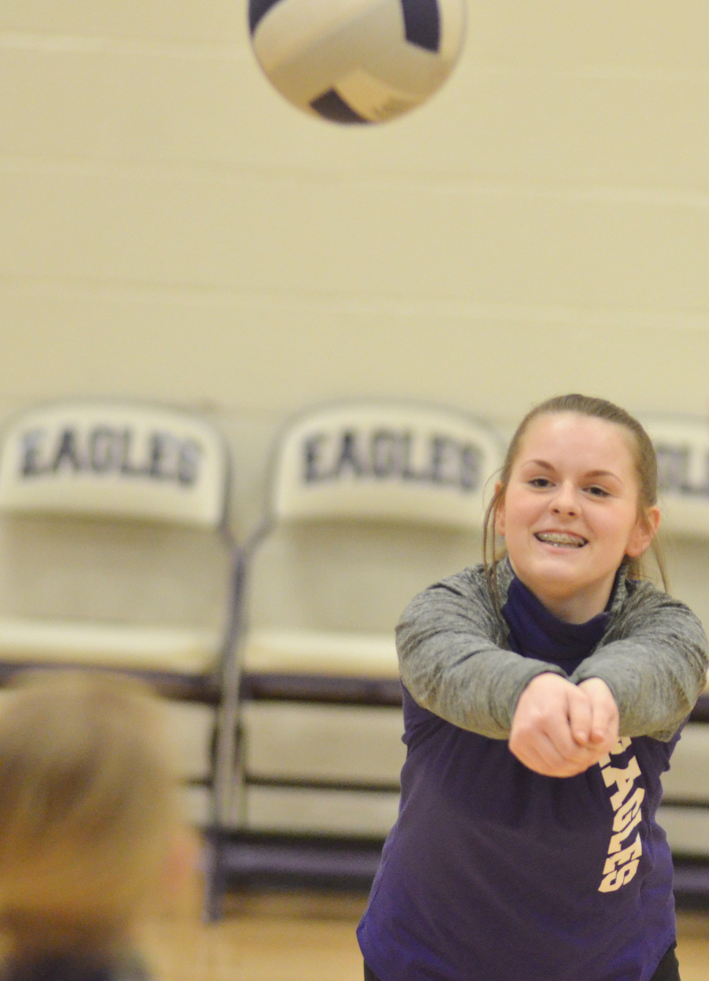 CMS eighth-grader Taylor Knight hits the ball.