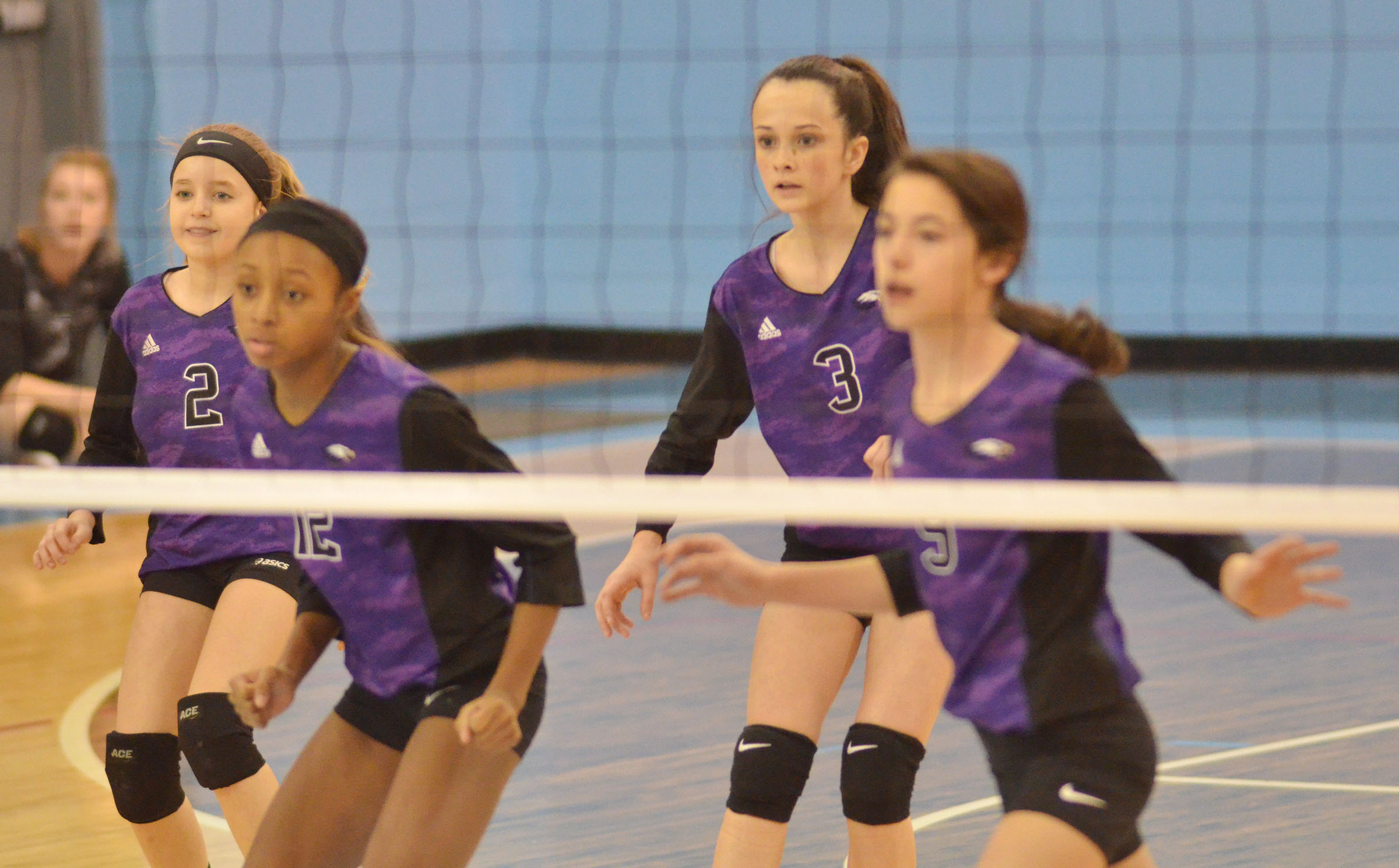From left, CMS seventh-graders Rylee Petett, Bri Gowdy, Sarah Adkins and Kaylyn Smith watch the ball.