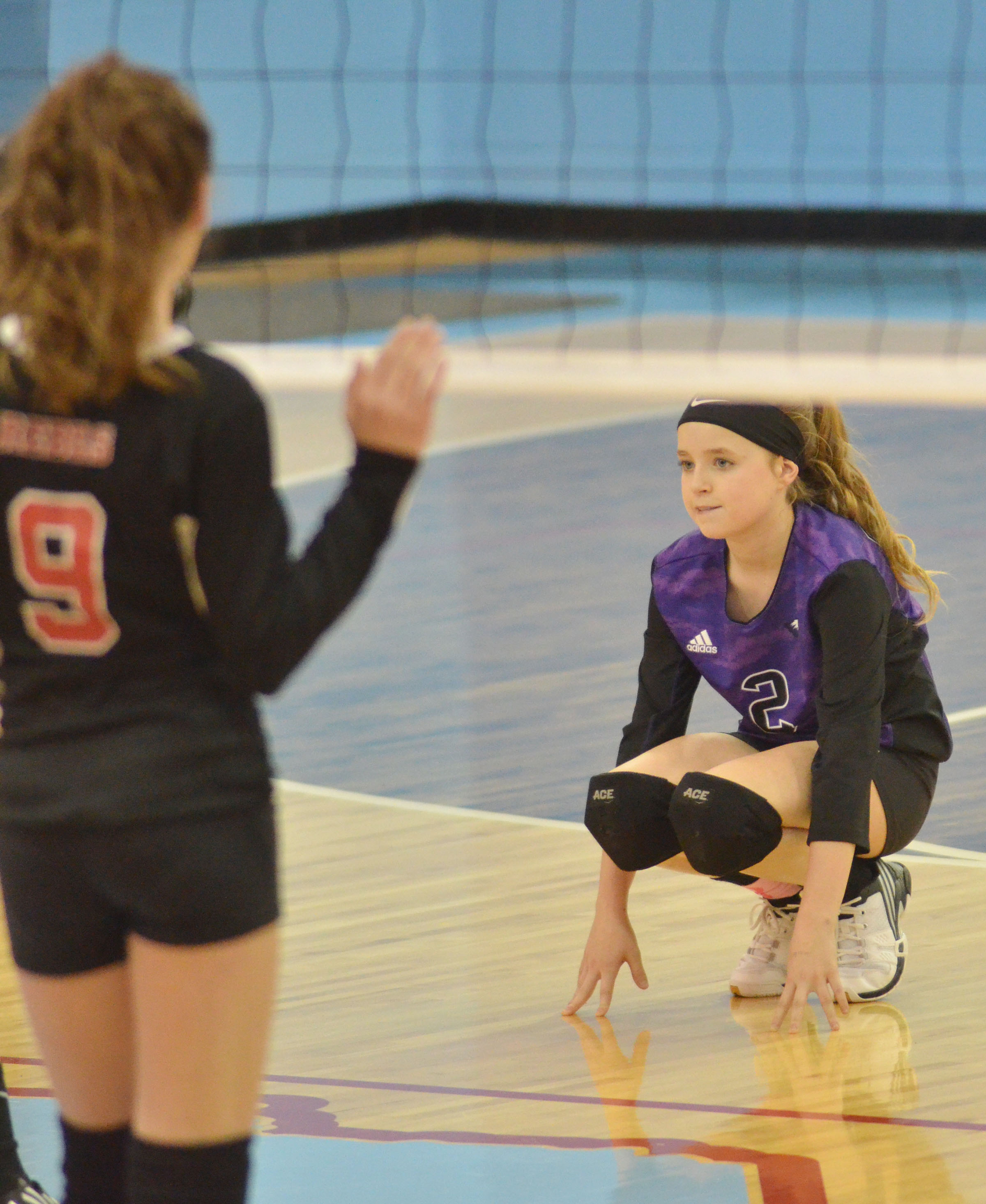 CMS seventh-grader Rylee Petett gets ready for the serve.
