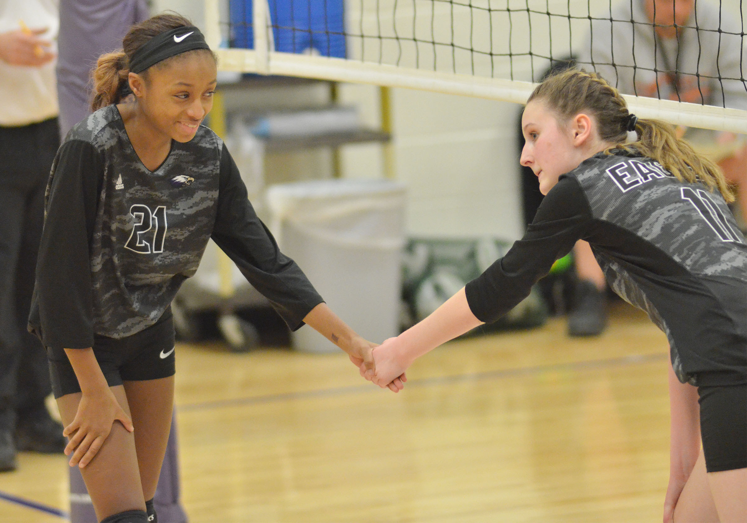 CMS seventh-grader Bri Gowdy, at left, and eighth-grader Zoie Sidebottom get set for a play.