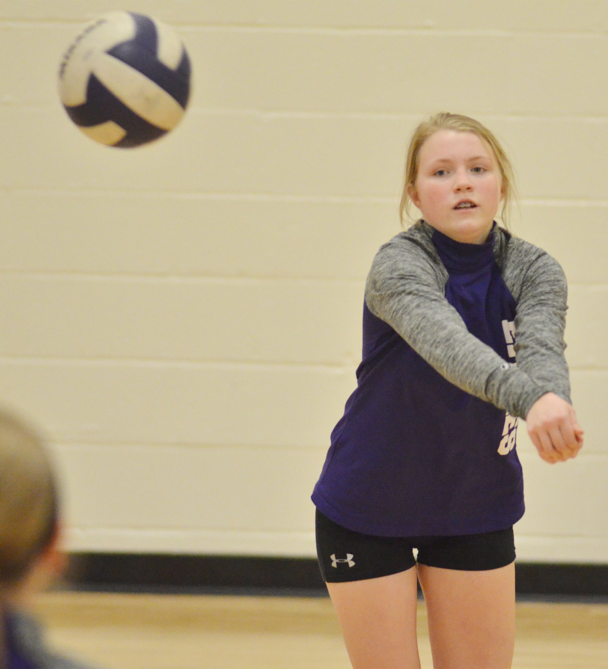 CMS eighth-grader Alanna Atwood hits the ball.