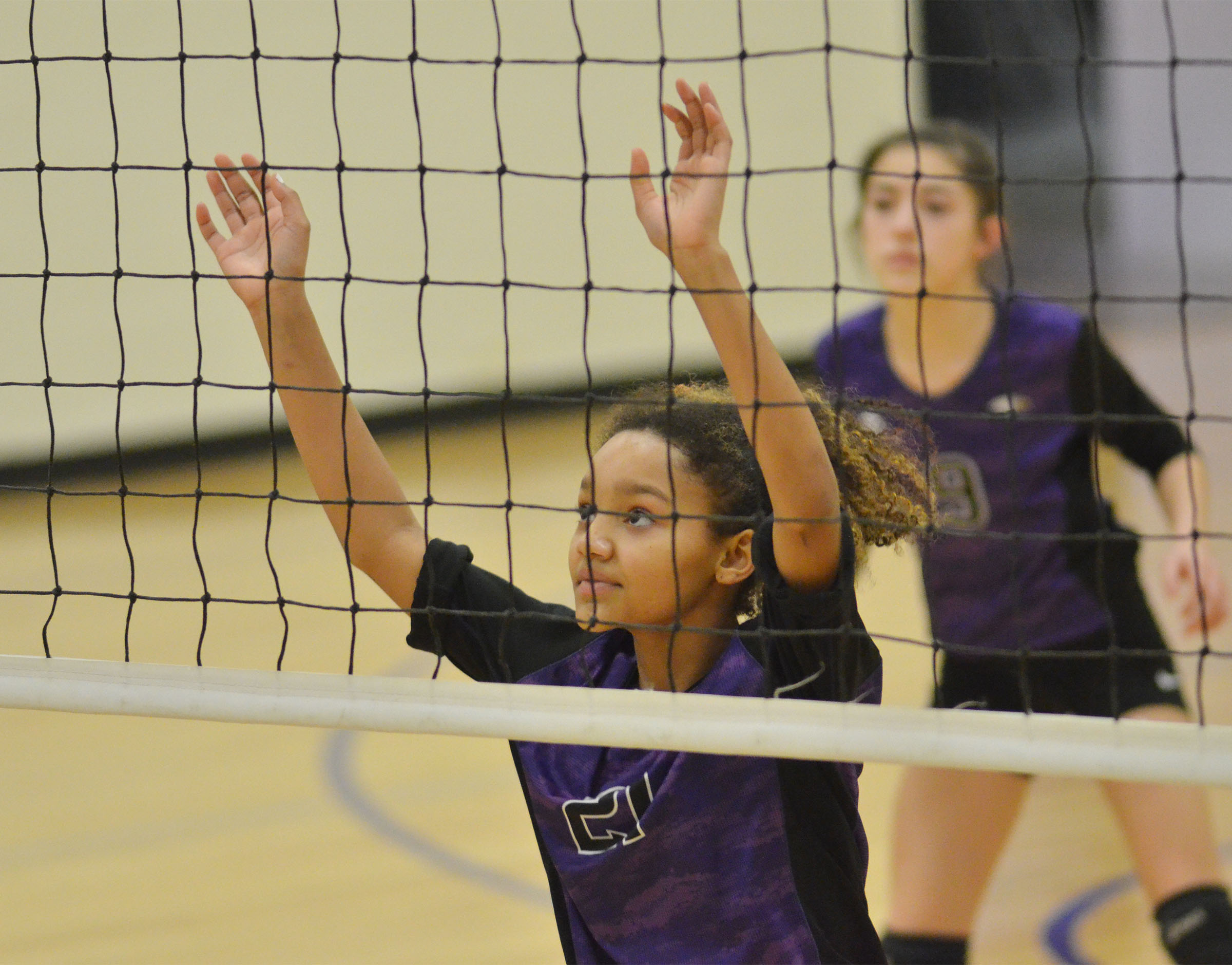 CMS seventh-grader Alexis Thomas guards the net.