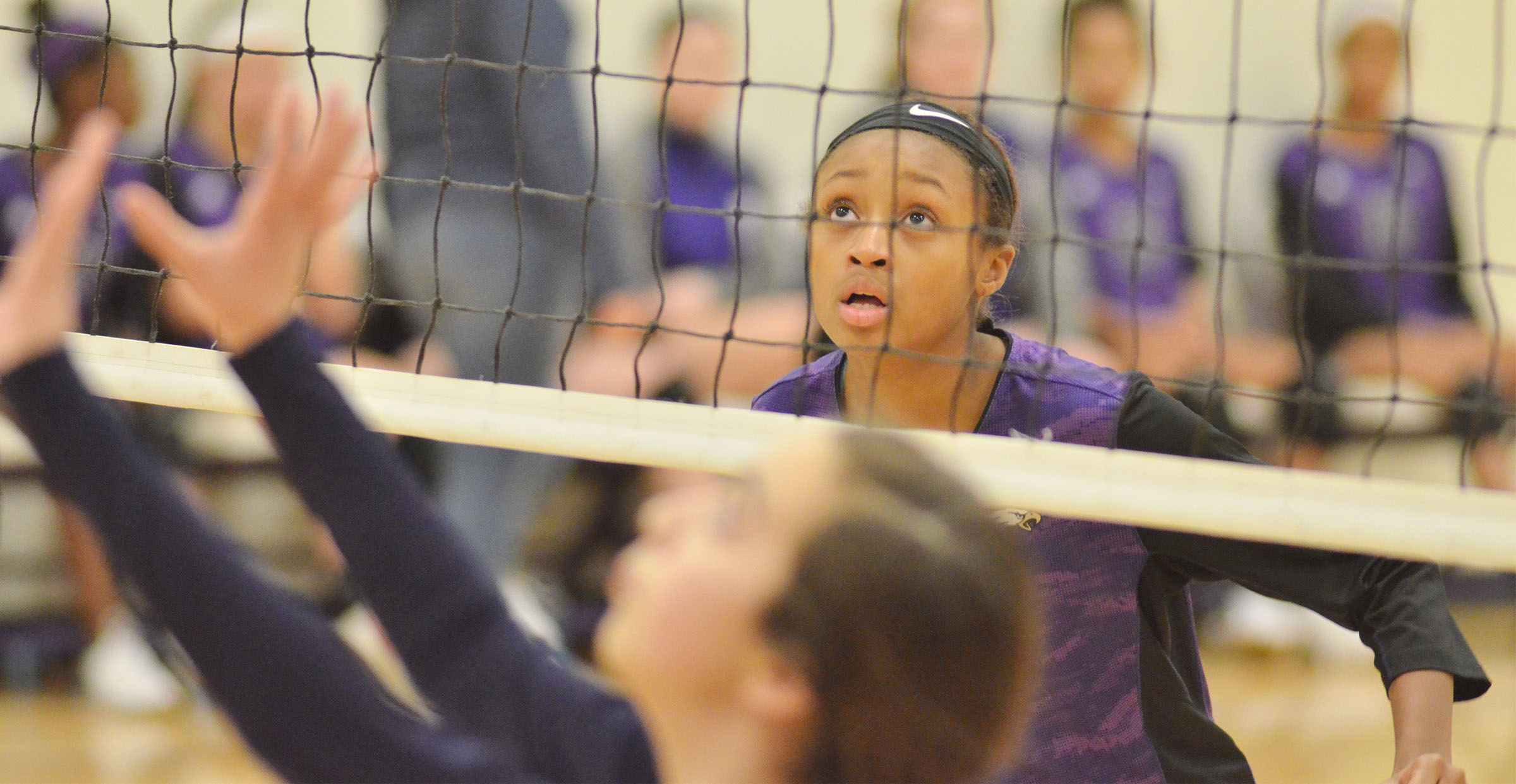 CMS seventh-grader Bri Gowdy watches the ball.