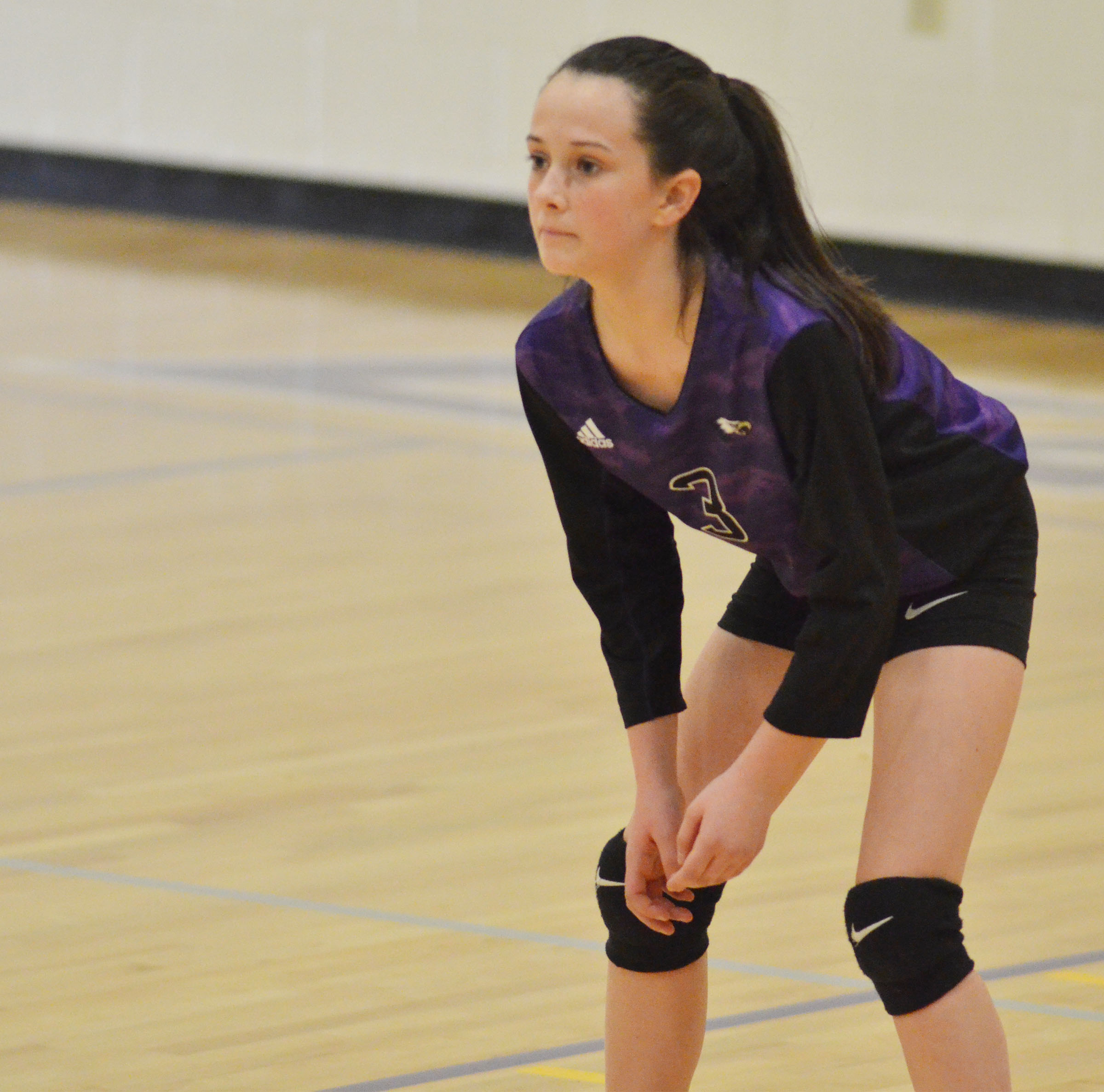 CMS seventh-grader Sarah Adkins watches the ball.