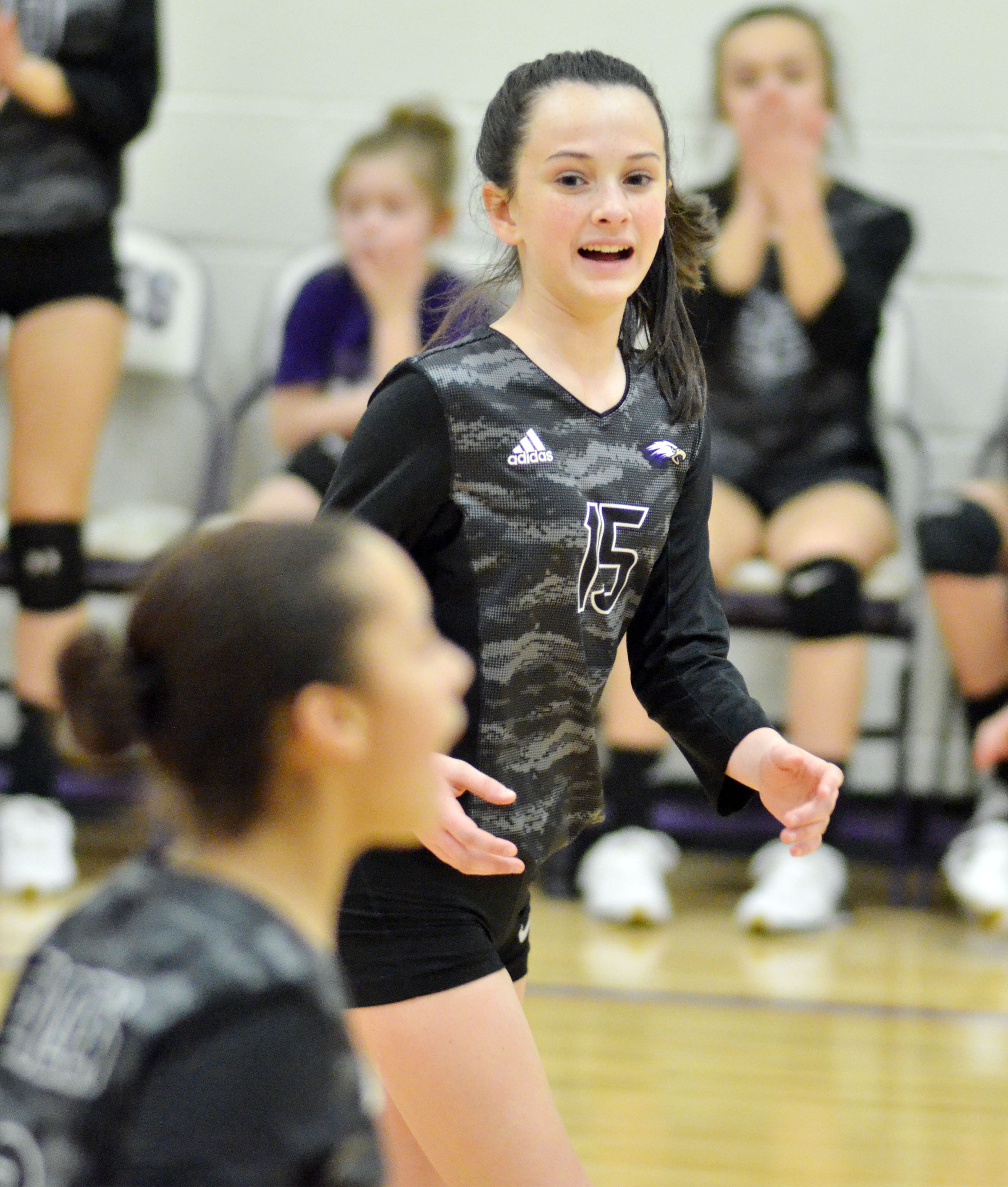 CMS seventh-grader Sarah Adkins celebrates a point.