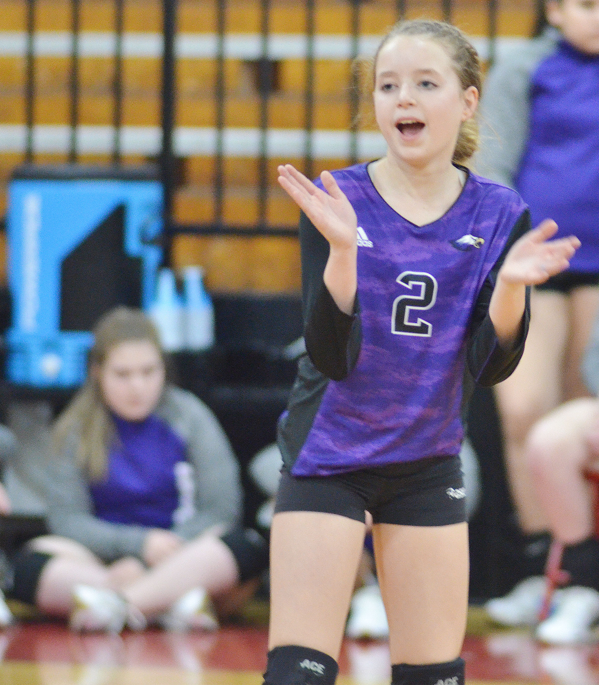 CMS seventh-grader Rylee Petett cheers after a point.