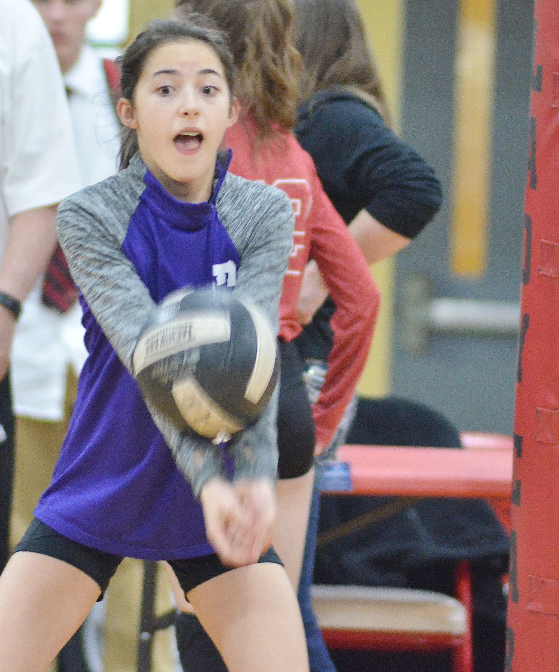 CMS seventh-grader Kaylyn Smith hits the ball.