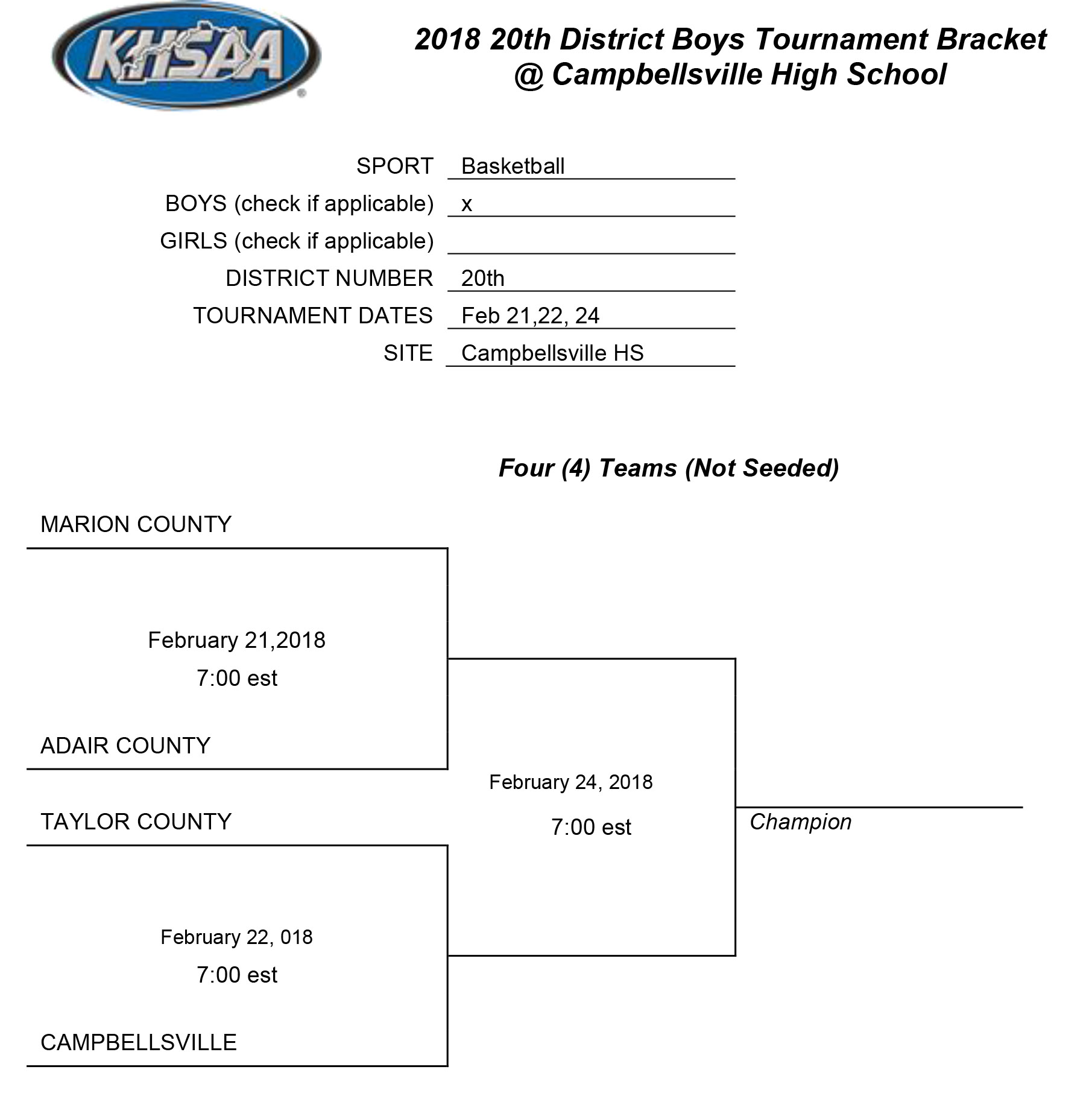 Boys Tournament Bracket