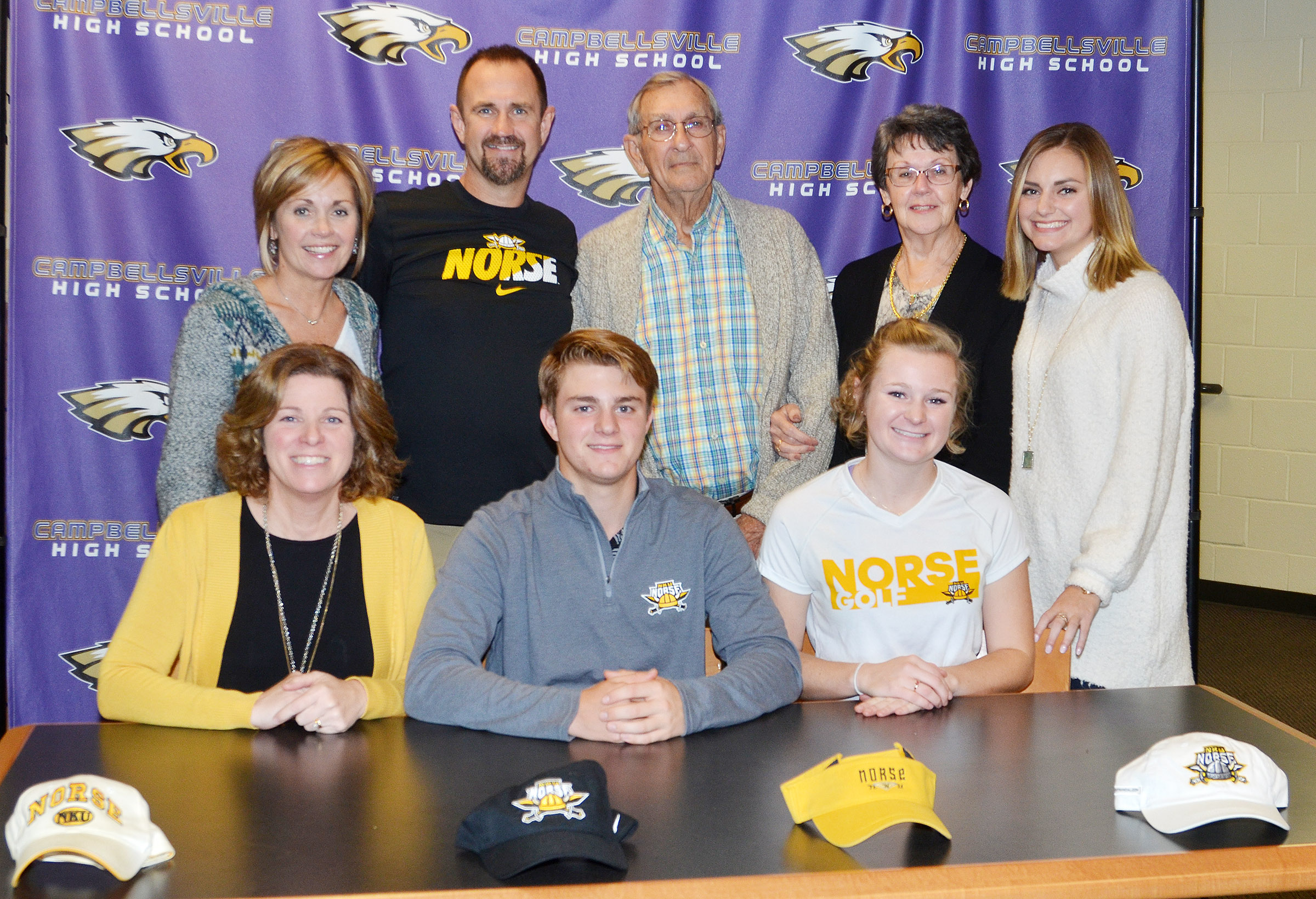 CHS boys' golf player Alex Doss will continue his academic and athletic career at Northern Kentucky University. He recently celebrated the announcement in a reception with his family and friends. Pictured with Doss are his parents, Steve and Dee, sister Kathryn and grandparents.