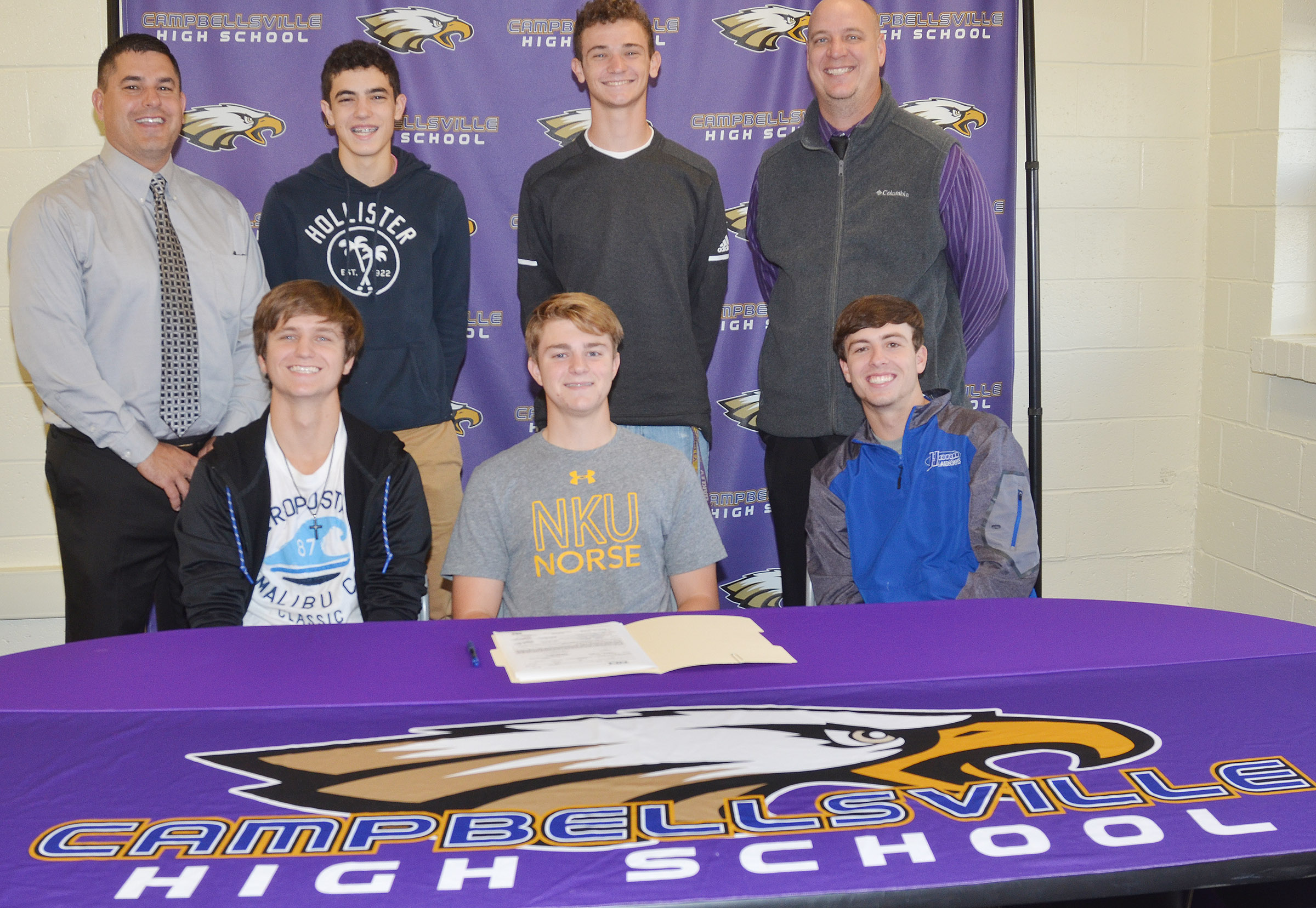 CHS boys' golf player Alex Doss will continue his academic and athletic career at Northern Kentucky University. With Doss, front, center, are his teammates Myles Murrell, at left, and Layton Hord, juniors, and, from left, back, Campbellsville Independent Schools Superintendent Kirby Smith, freshman Kameron Smith, senior Connor Wilson and CHS Principal David Petett.