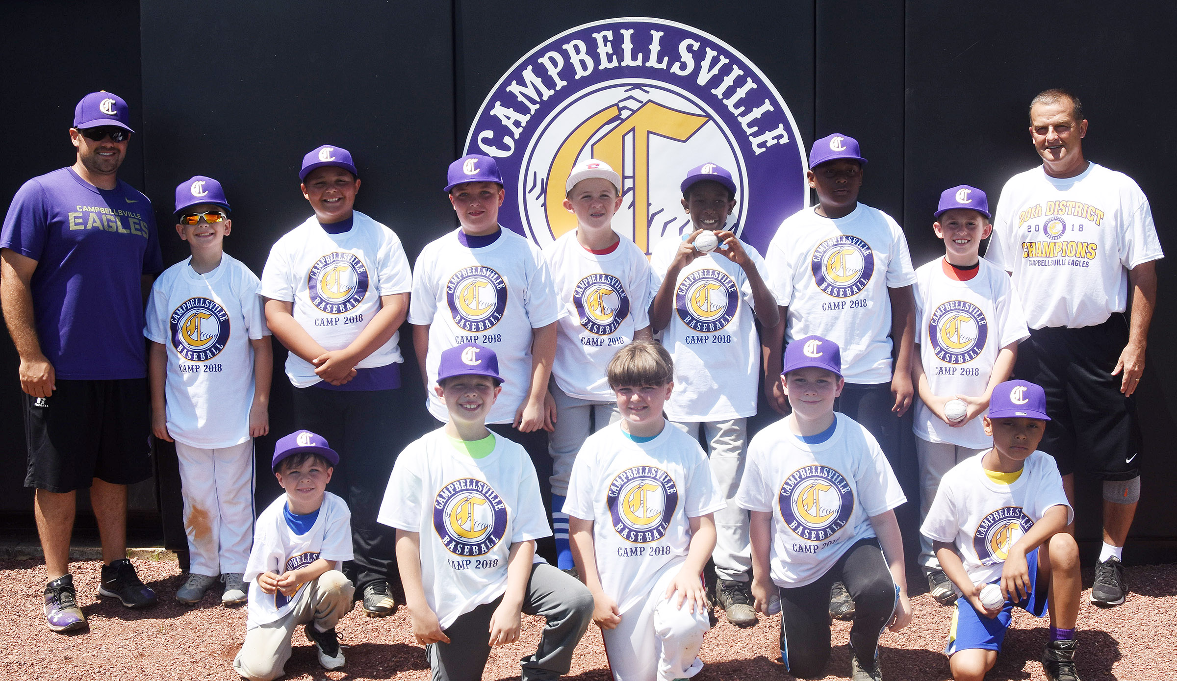 Campbellsville High School baseball team recently hosted its first youth camp. Those attending include, from left, front, Campbellsville Elementary School kindergartener Bentley Wilhoite, CES second-grader Brody Sidebottom and CES third-graders Kaleigh Wilhoite, Stephen Green and Maddox Hawkins. Back, head coach Blake Milby, CES fourth-graders Cameron Estes and Brayden Paiz, CES fifth-grader Skylar Wilhoite, Taylor County Elementary School fourth-grader Silas Young, CES third-grader Jaron Johnson, CES fifth-grader KeKe Miller, CES third-grader Lanigan Price and assistant coach Lynn Kearney.