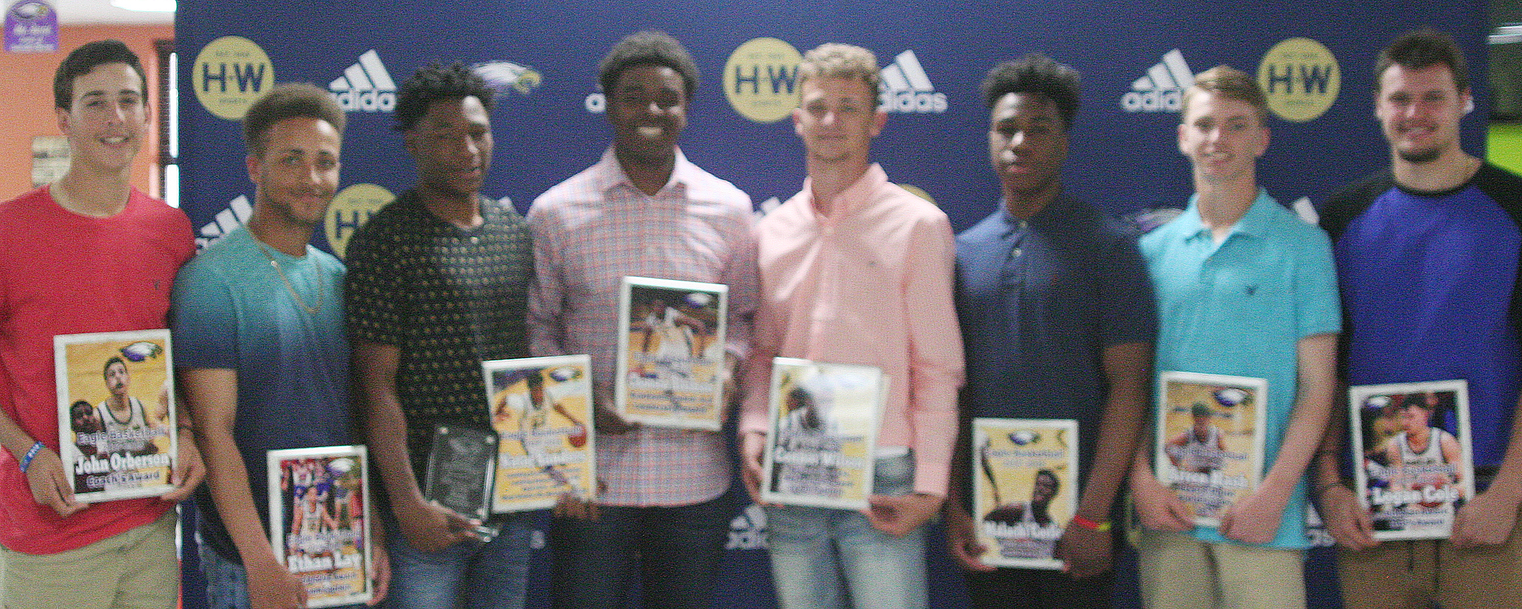 Receiving varsity awards are, from left, freshman John Orberson, senior Ethan Lay, junior Taj Sanders, seniors Chanson Atkinson and Connor Wilson, sophomore Malachi Corley, freshman Arren Hash and senior Logan Cole.