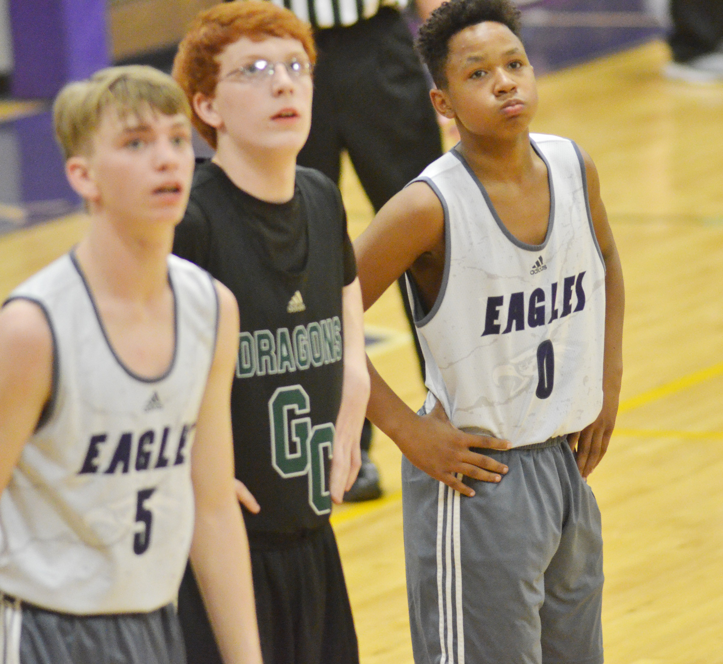 Campbellsville Middle School seventh-grader Deondre Weathers watches as a Green County player shoots a foul shot.