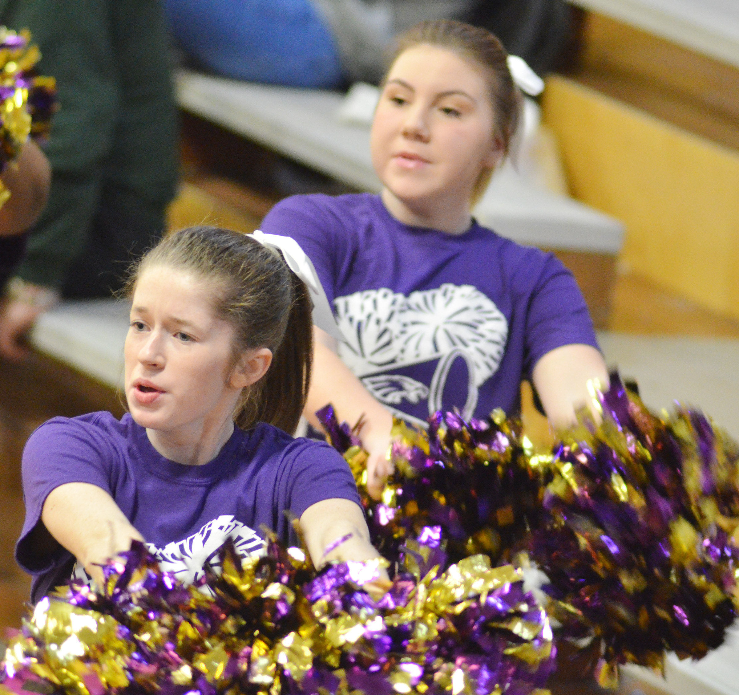 CHS sophomores Gracyne Hash, at left, and Lauryn Agathen cheer for the Eagles.