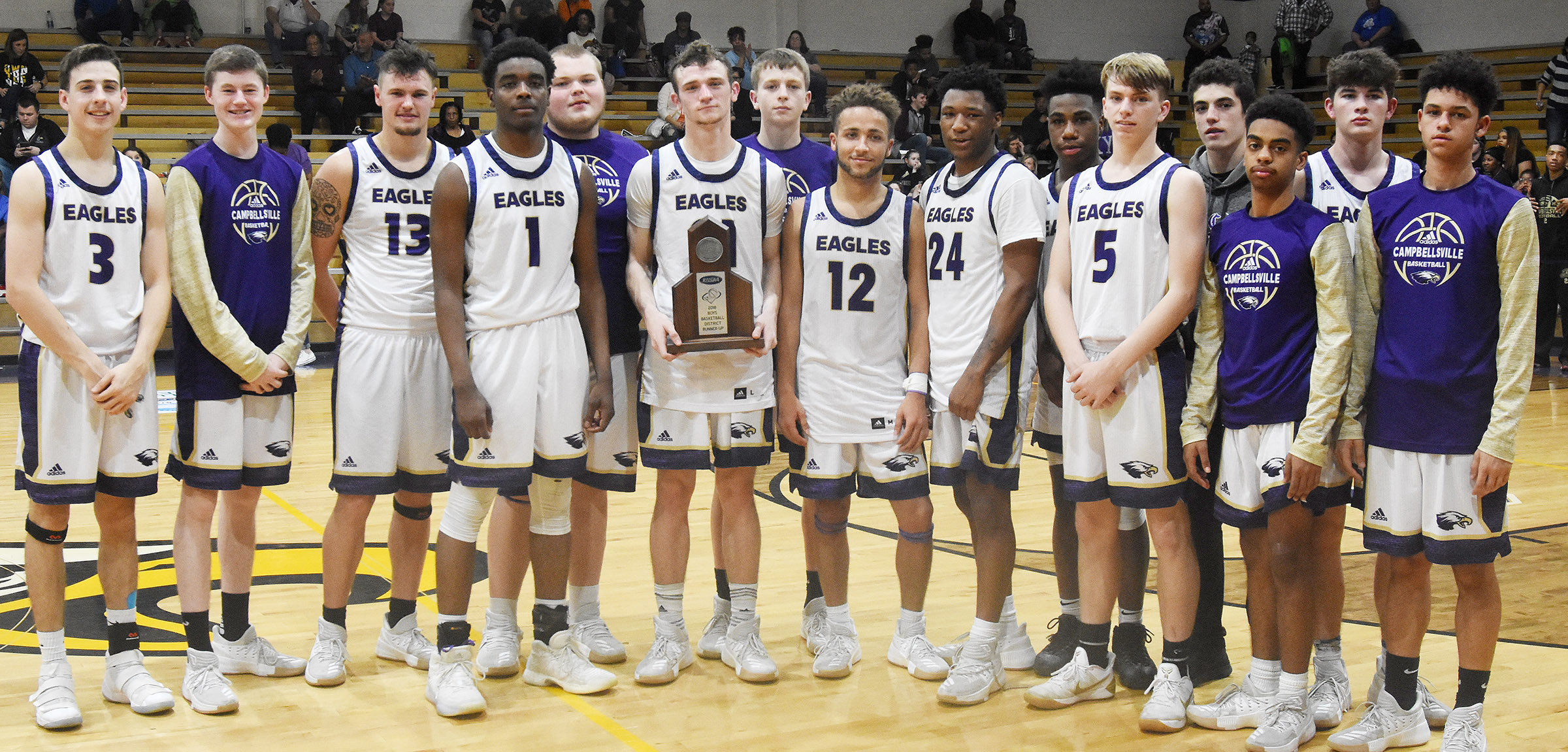 Campbellsville High School boys' basketball team is 20th District tournament runners-up. From left are freshmen John Orberson and Tristin Faulkner, seniors Logan Cole, Chanson Atkinson, Toyse Cox and Connor Wilson, sophomore Noah Hughes, senior Ethan Lay, junior Taj Sanders, sophomore Malachi Corley, freshmen Arren Hash and Kameron Smith, junior Davon Cecil and sophomores Mark Rigsby and Mikael Vaught.