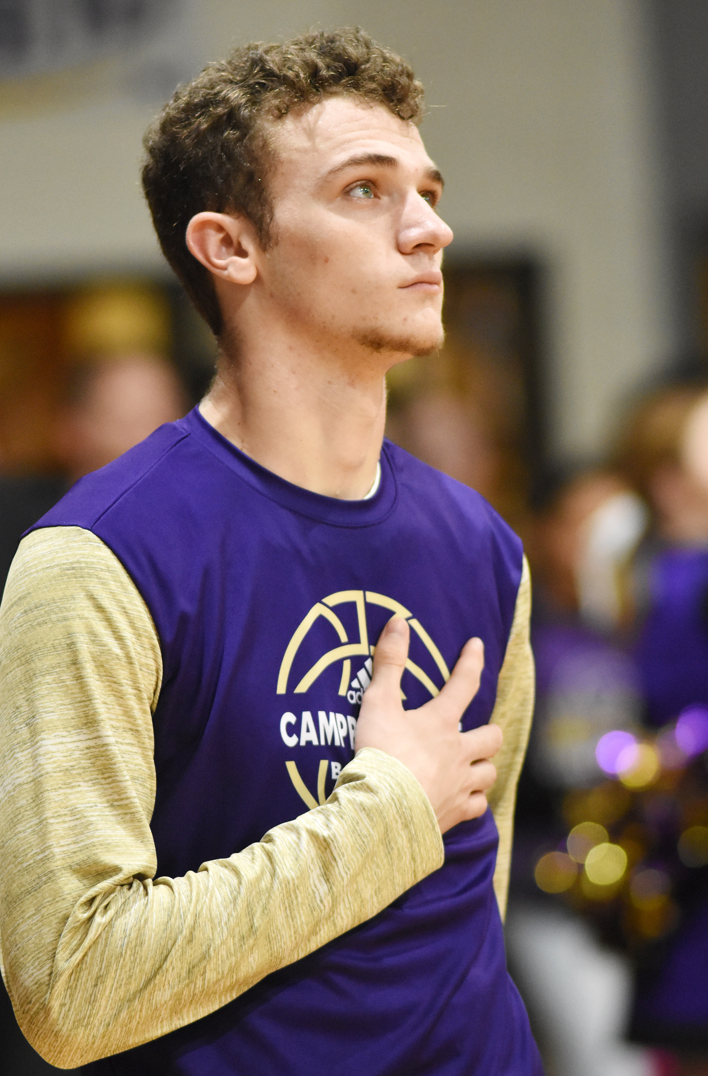 CHS senior Connor Wilson stands for the National Anthem.