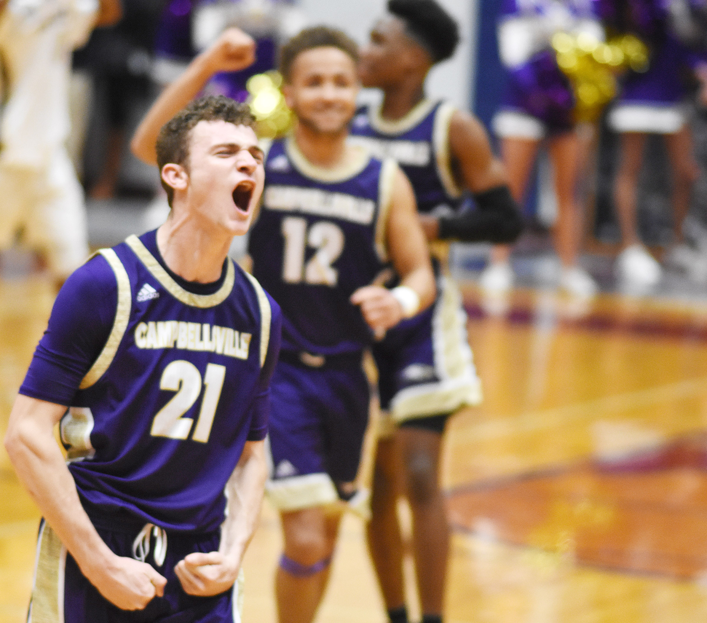 CHS senior Connor Wilson cheers as his team wins the game.
