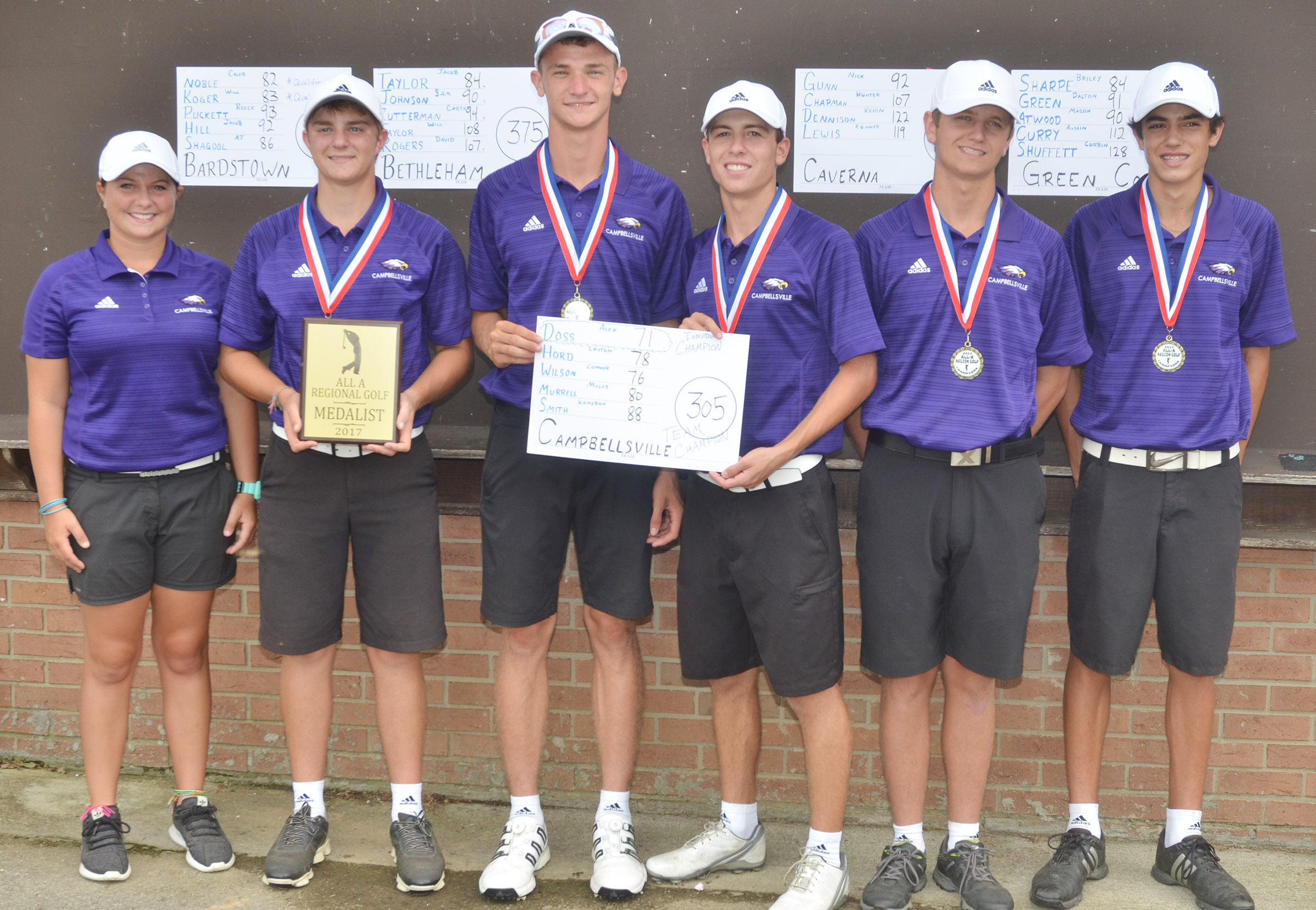 "For the third year in a row, the Campbellsville High School boys' golf team has won the All ""A"" fifth region championship, and will advance to the All ""A"" state tournament. From left are coach Cassidy Decker, seniors Alex Doss and Connor Wilson, juniors Layton Hord and Myles Murrell and freshman Kameron Smith. Doss was the overall individual winner, finishing 18 holes in 71 strokes."
