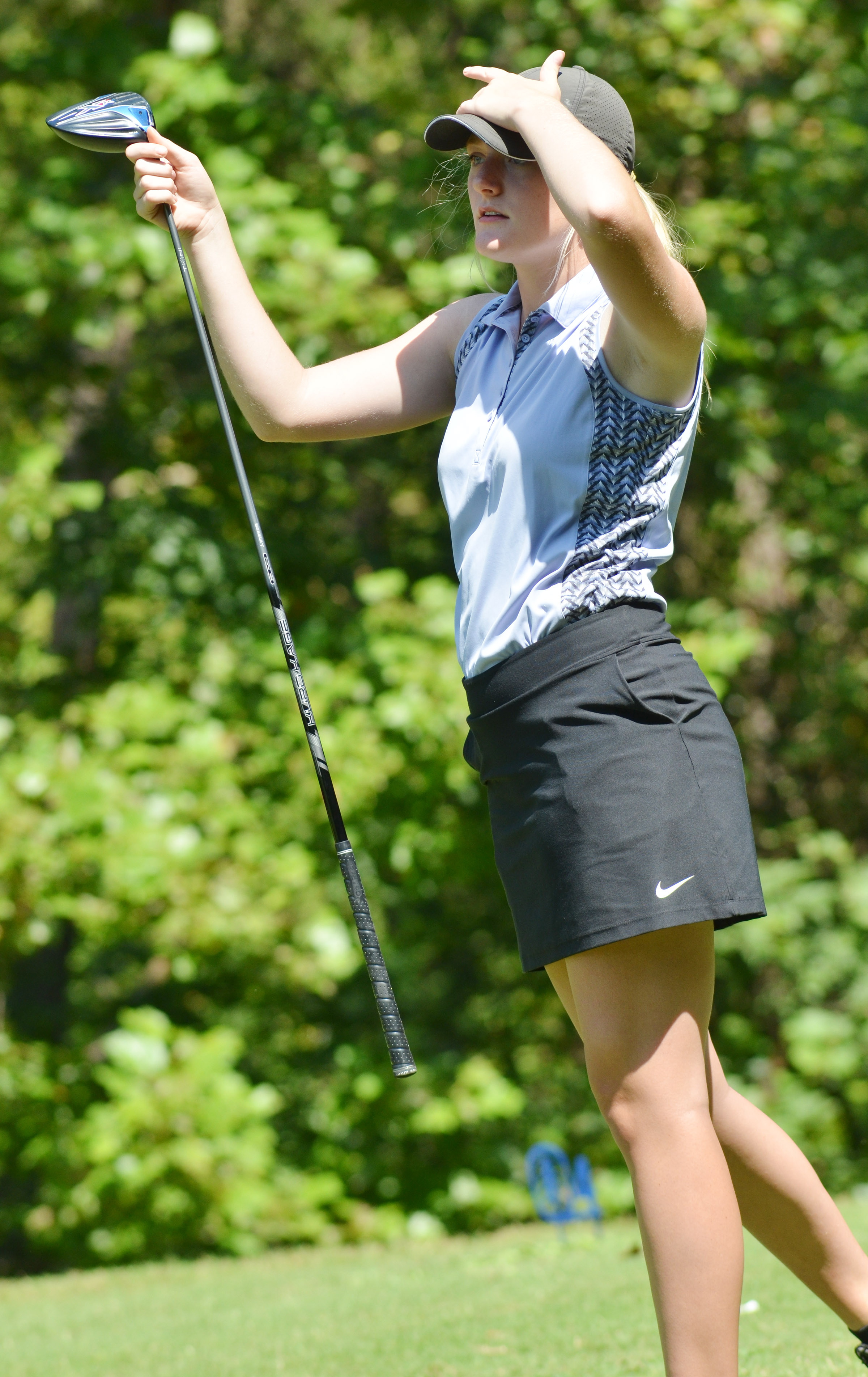 CHS junior Abbie Dicken watches her ball.