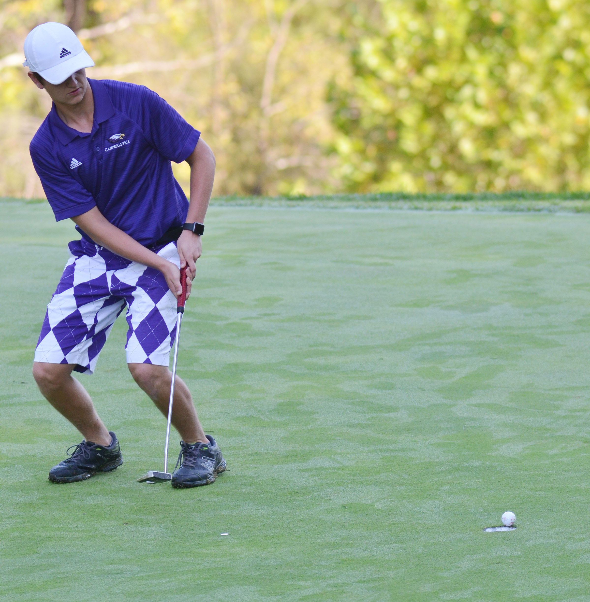 CHS junior Myles Murrell just misses a putt.