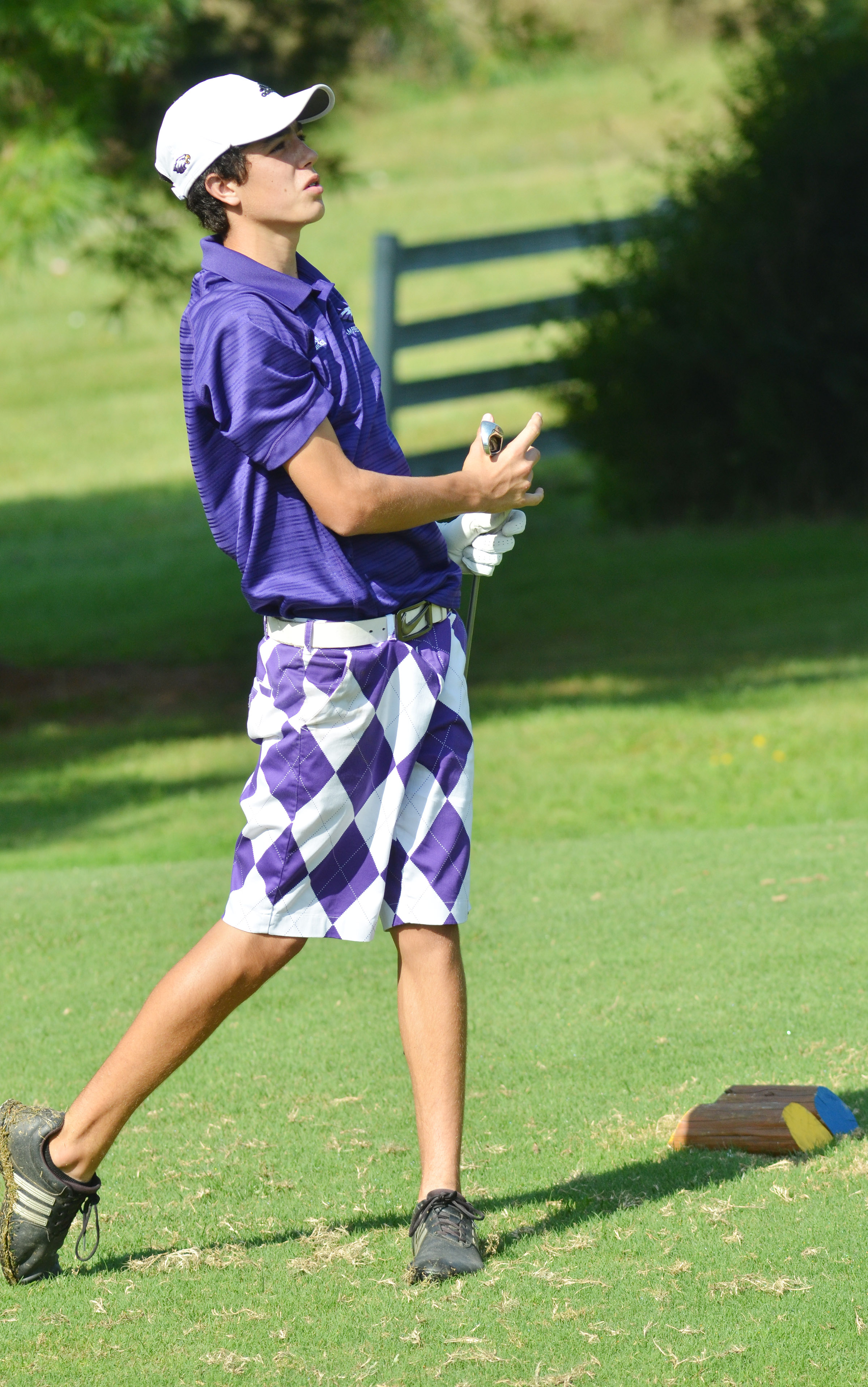 CHS freshman Kameron Smith watches to see where his ball lands.