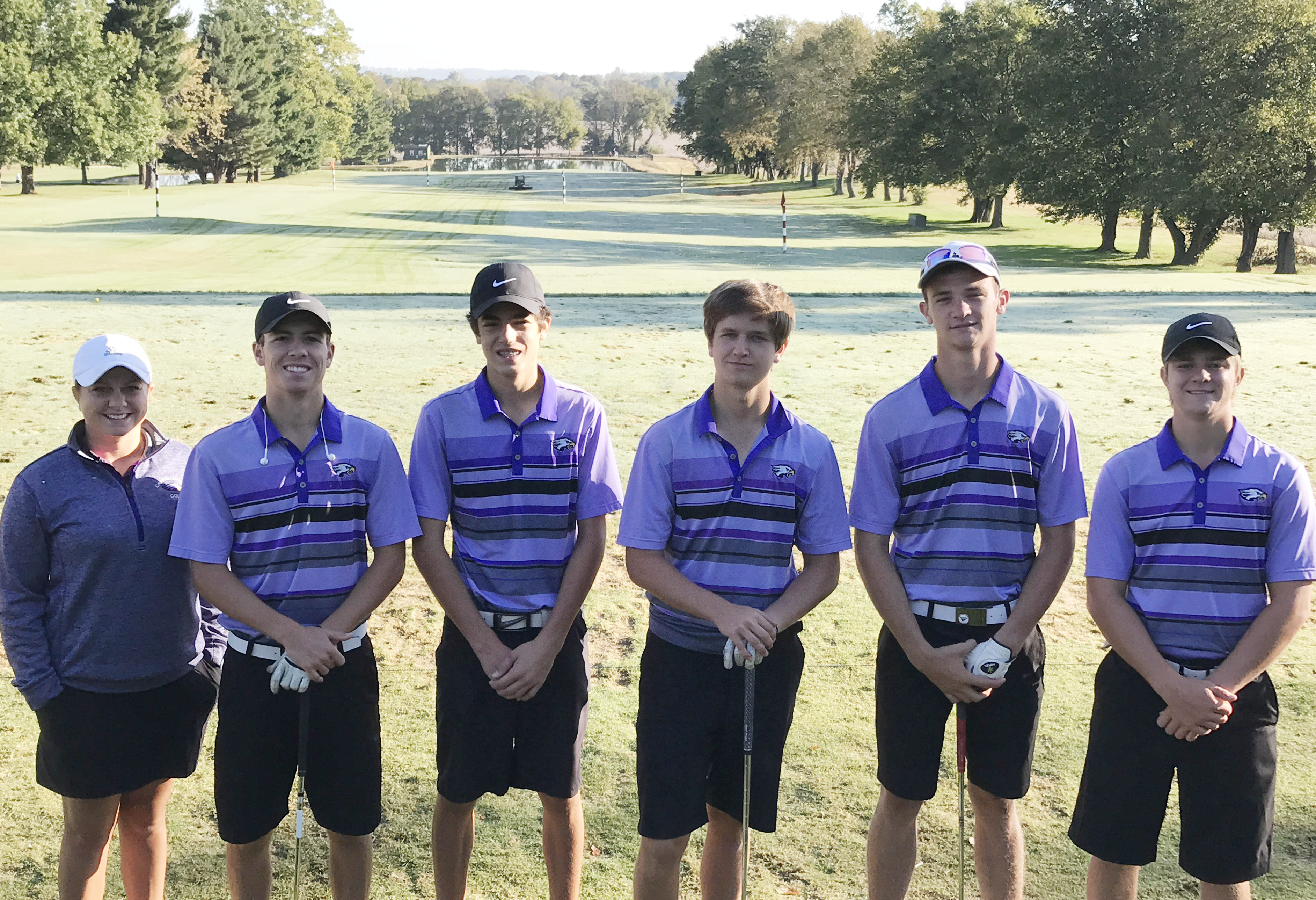 Campbellsville High School boys' golf team is the ninth best team in the state. The team competed in the Kentucky High School Athletic Association state tournament at Bowling Green Country Club on Tuesday, Oct. 3, and Wednesday, Oct. 4. From left are coach Cassidy Decker, junior Layton Hord, freshman Kameron Smith, junior Myles Murrell and seniors Connor Wilson and Alex Doss.