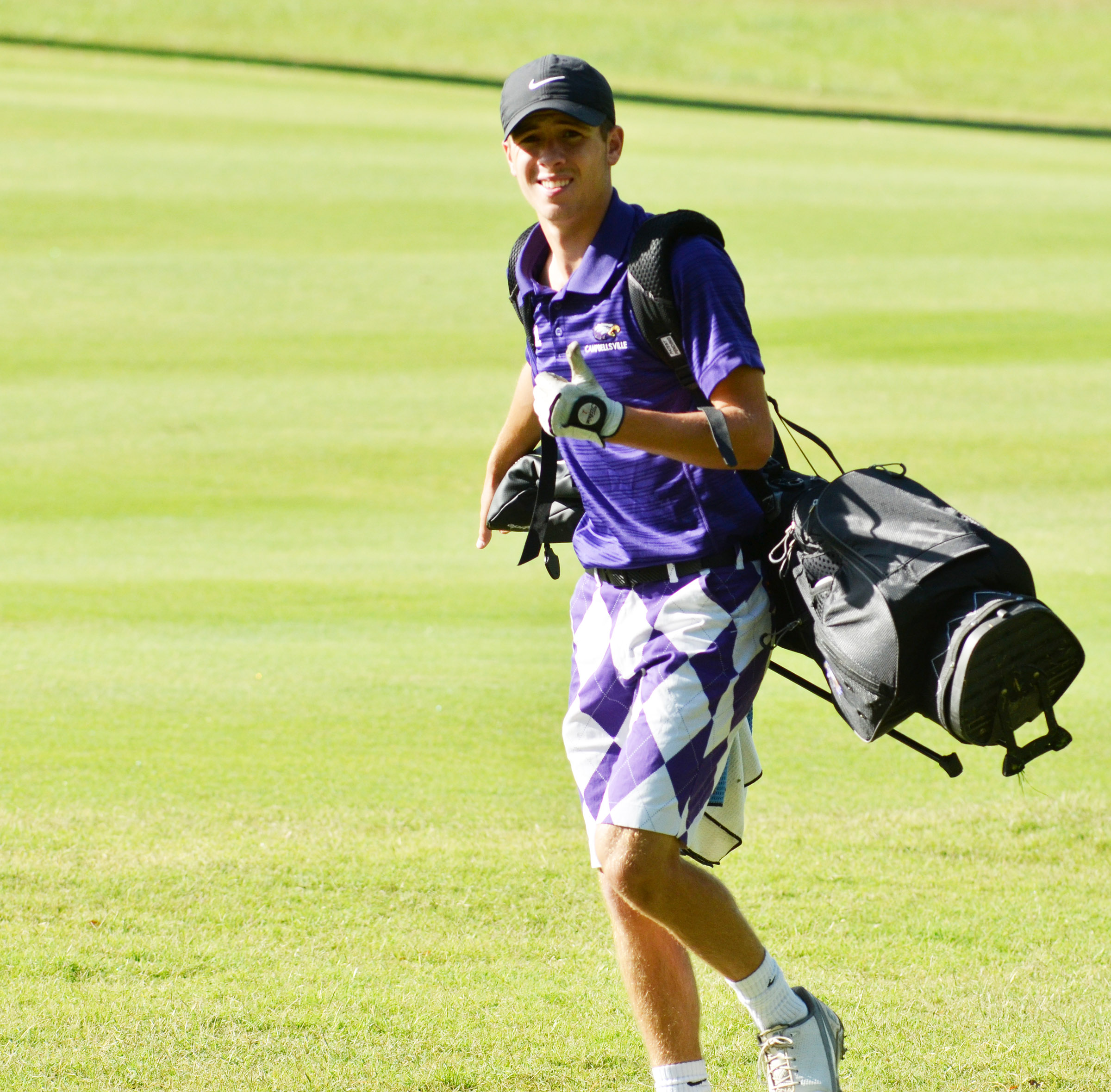 CHS junior Layton Hord gives a thumbs up as he walks to his ball.