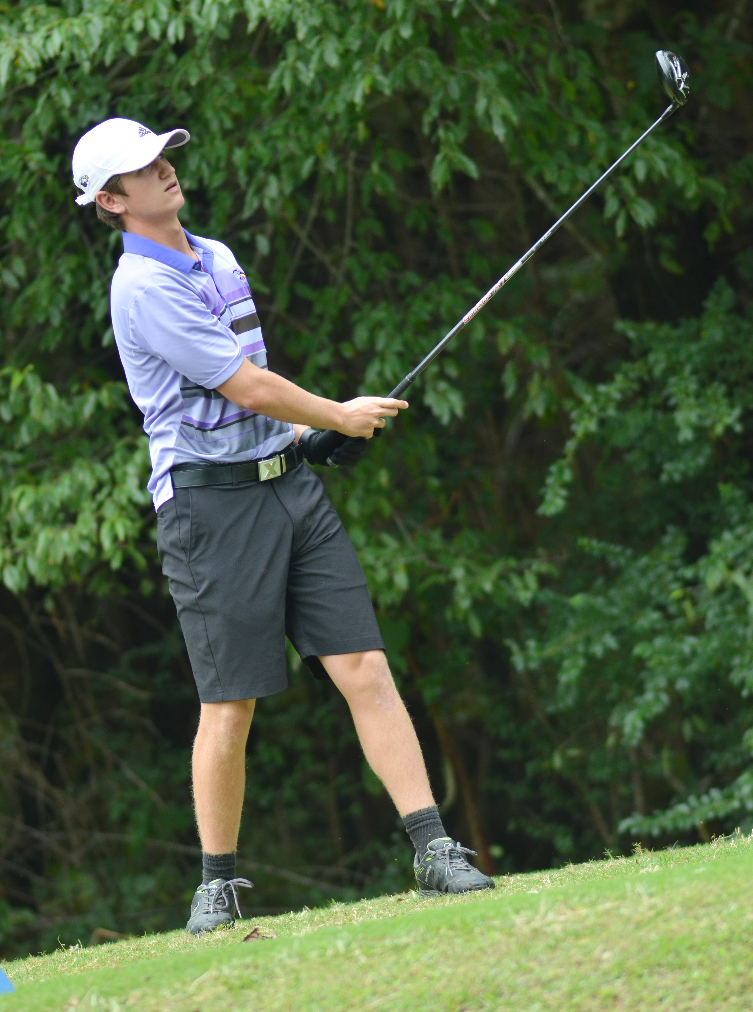 CHS junior Myles Murrell watches his ball.