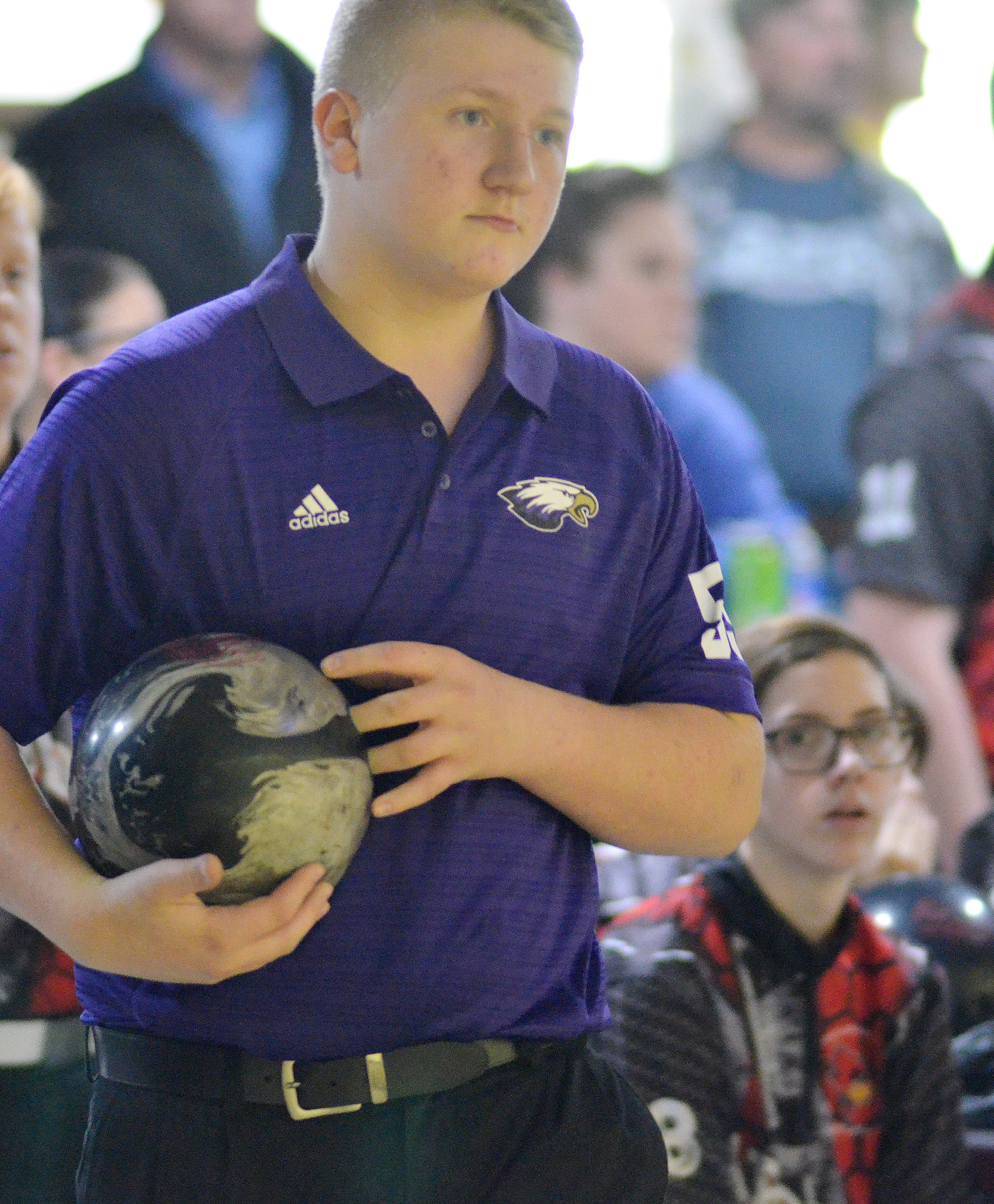 Campbellsville Middle School seventh-grader Levi Dicken gets ready to bowl.