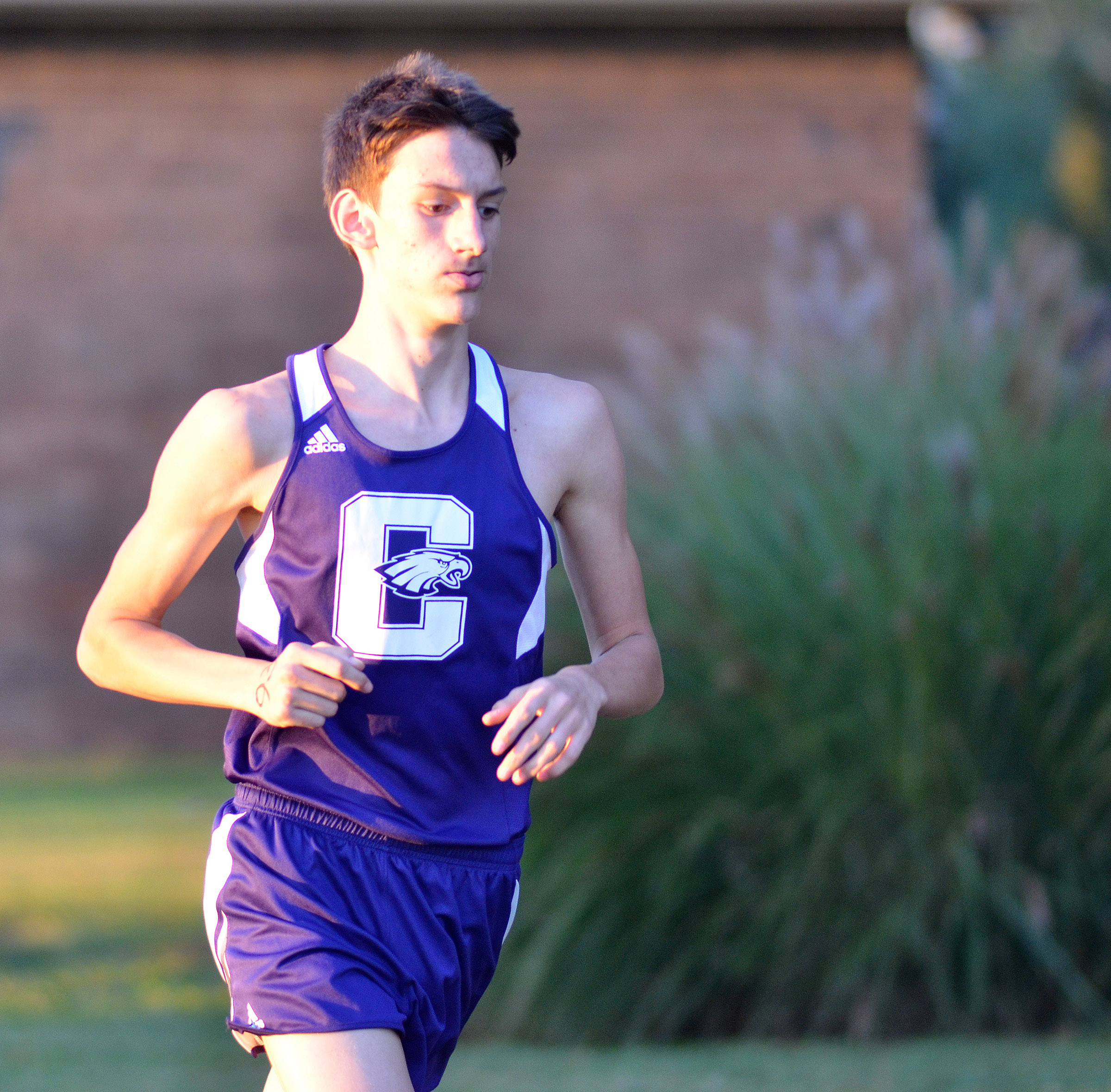 CHS junior Evan McAninch runs.