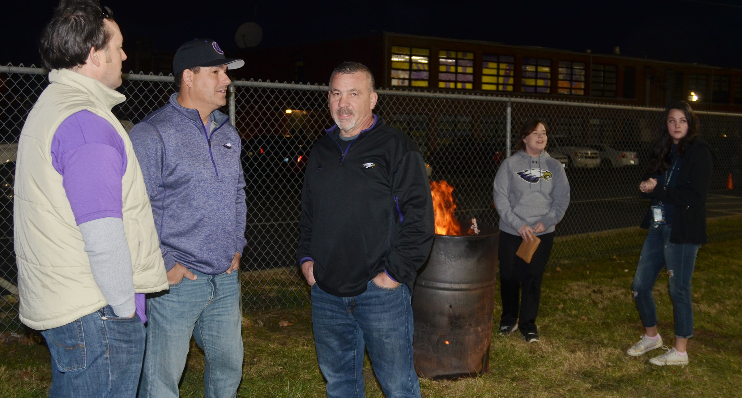 CHS hosted a tailgate before the game for students, staff members and fans. From left are Chief Academic Officer Kent Settle, Superintendent Kirby Smith and Transportation Director Tim Tungate.