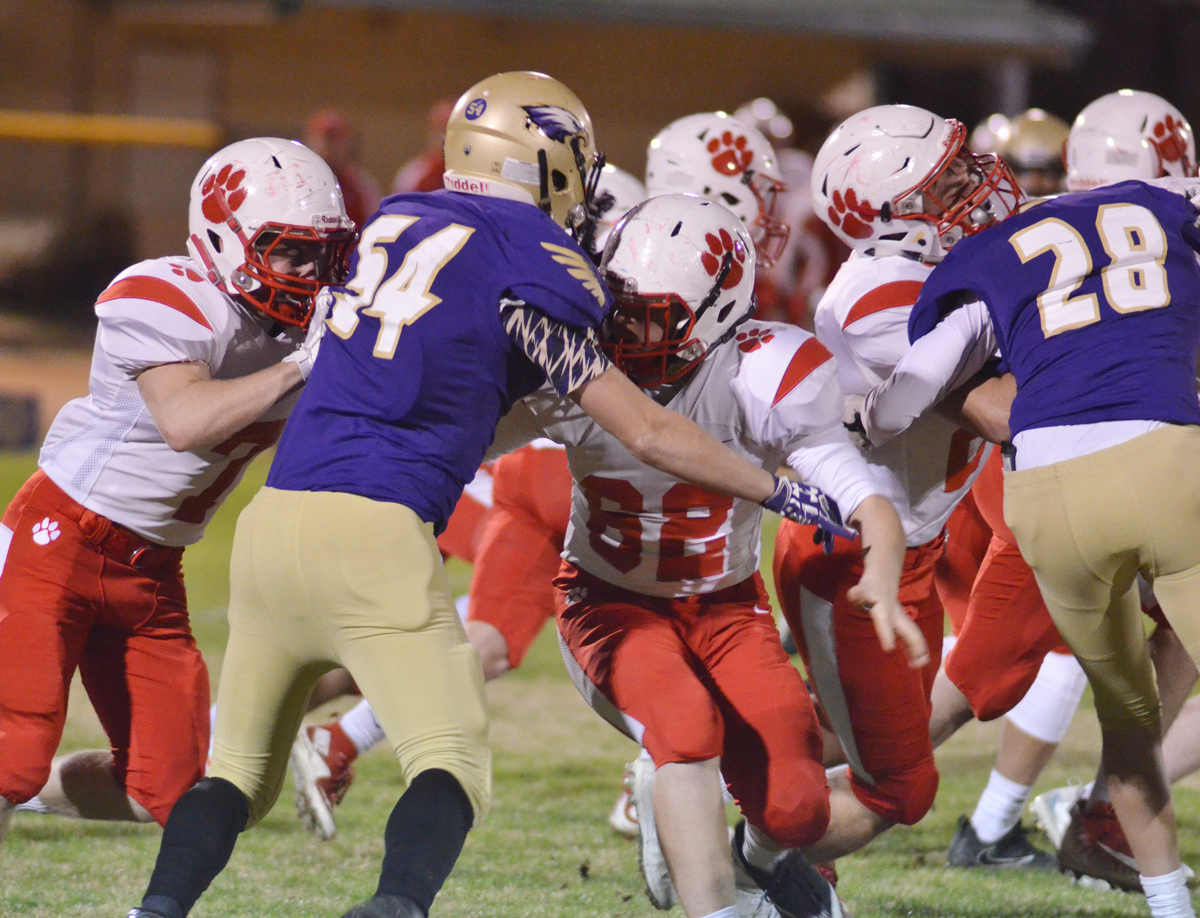 CHS sophomores Devon Reardon, at left, and Blake Allen tackle.