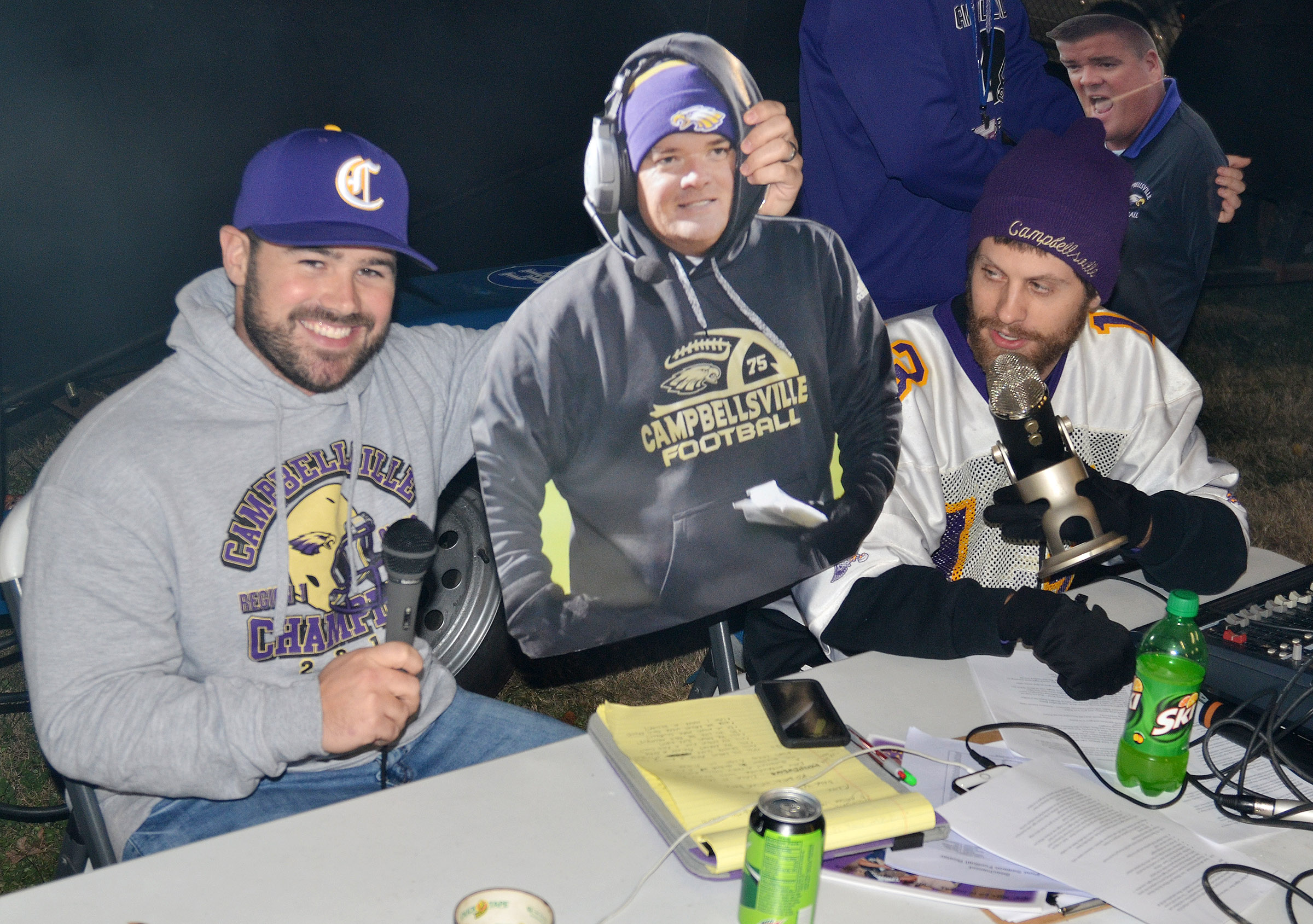 "CHS head baseball coach Blake Milby plays the game ""Dale Yeah"" during the tailgate show by answering a question with the ""Dale Yes"" picture."