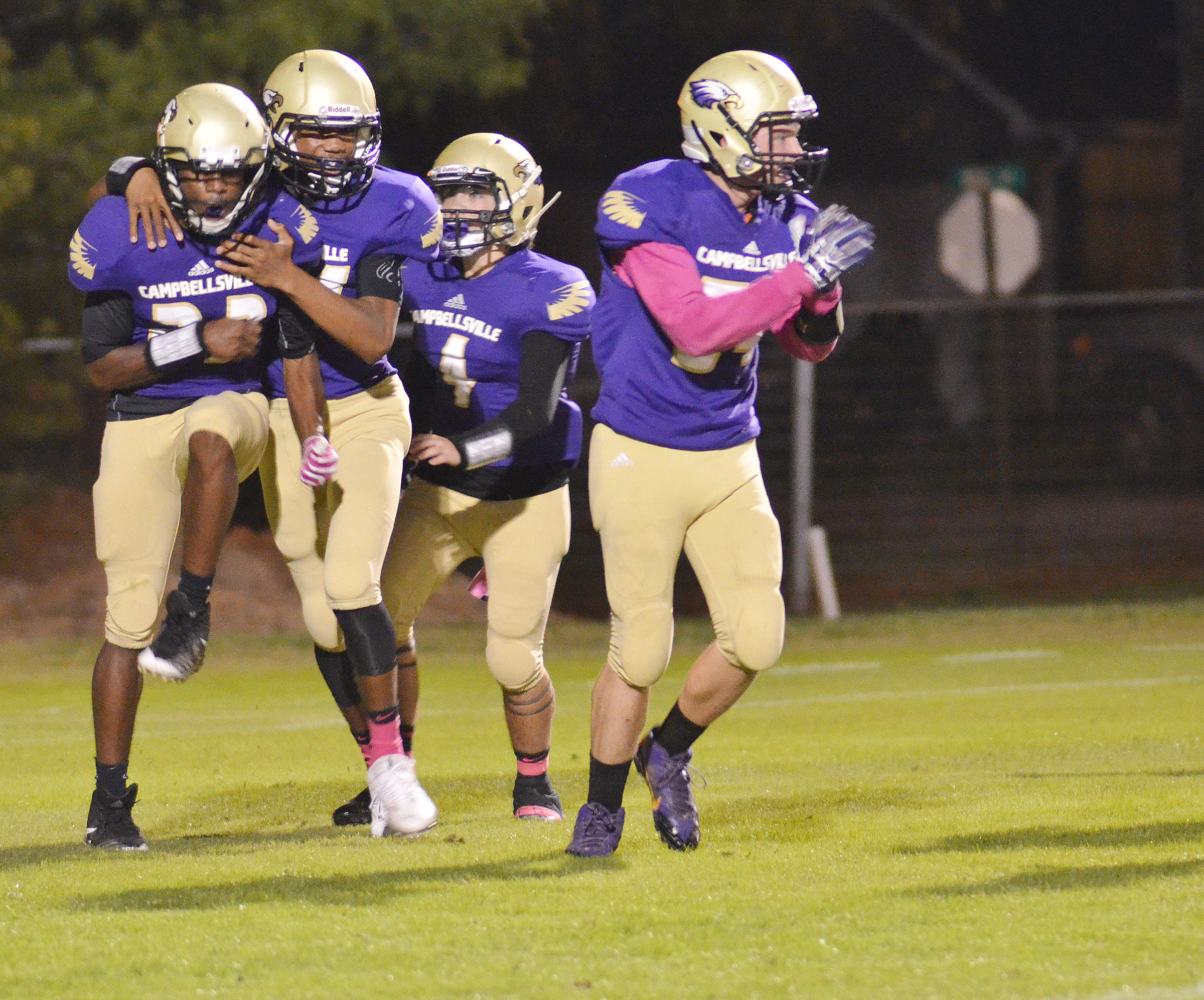 CHS football players celebrate a touchdown.