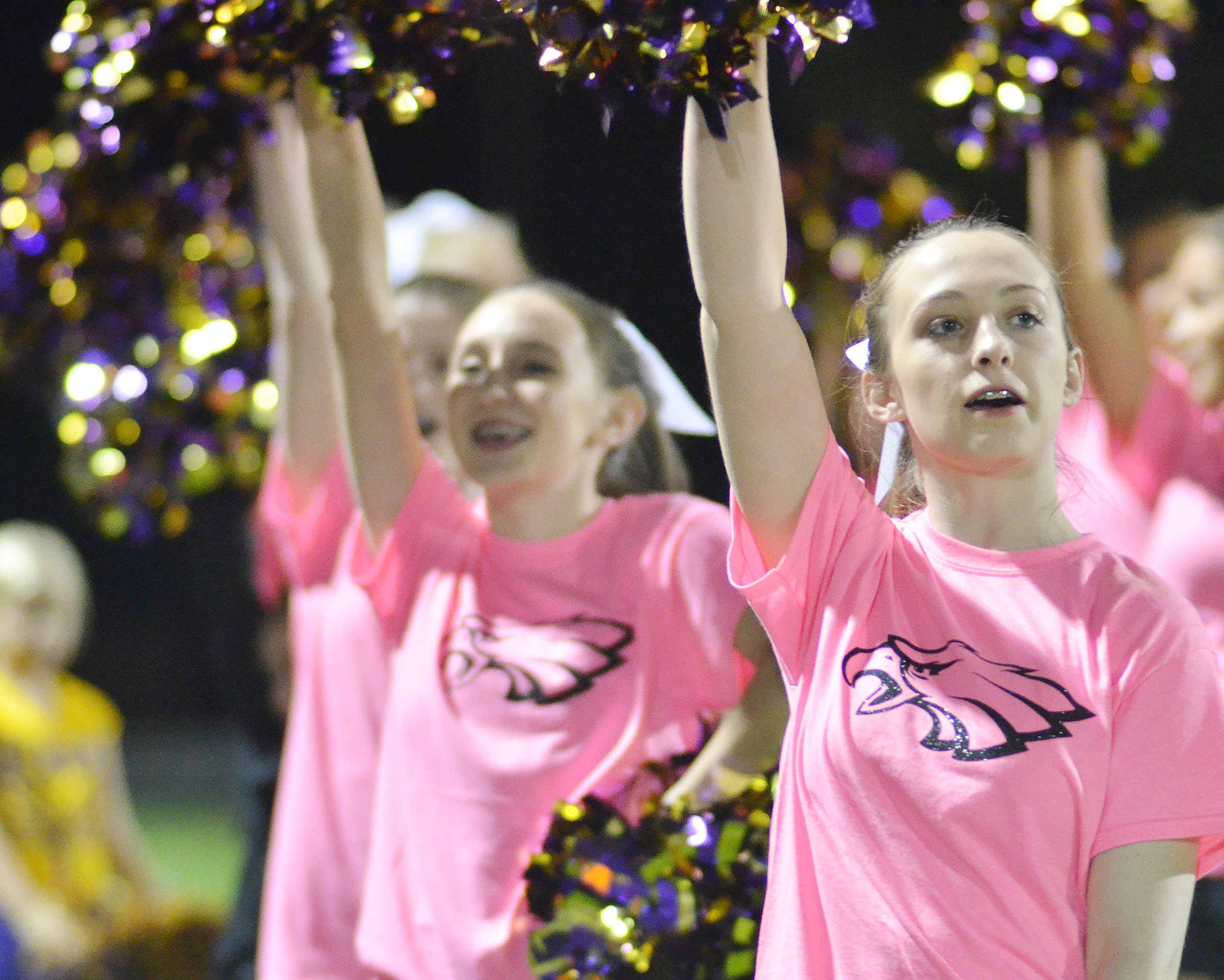 CHS junior Caleigh Bright cheers.