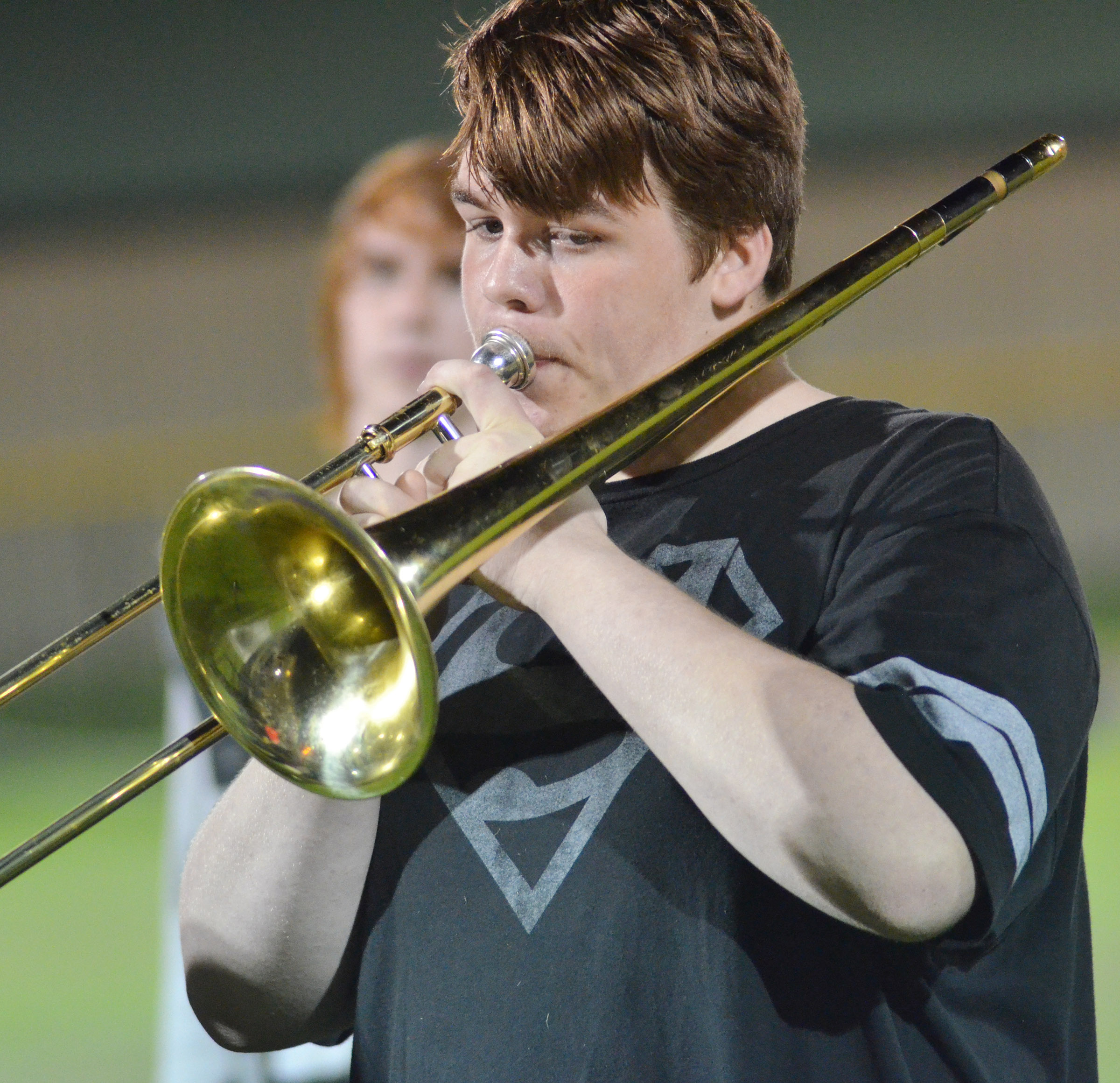 Campbellsville Middle School eighth-grader Austin Jeffries plays with the CHS pep band.